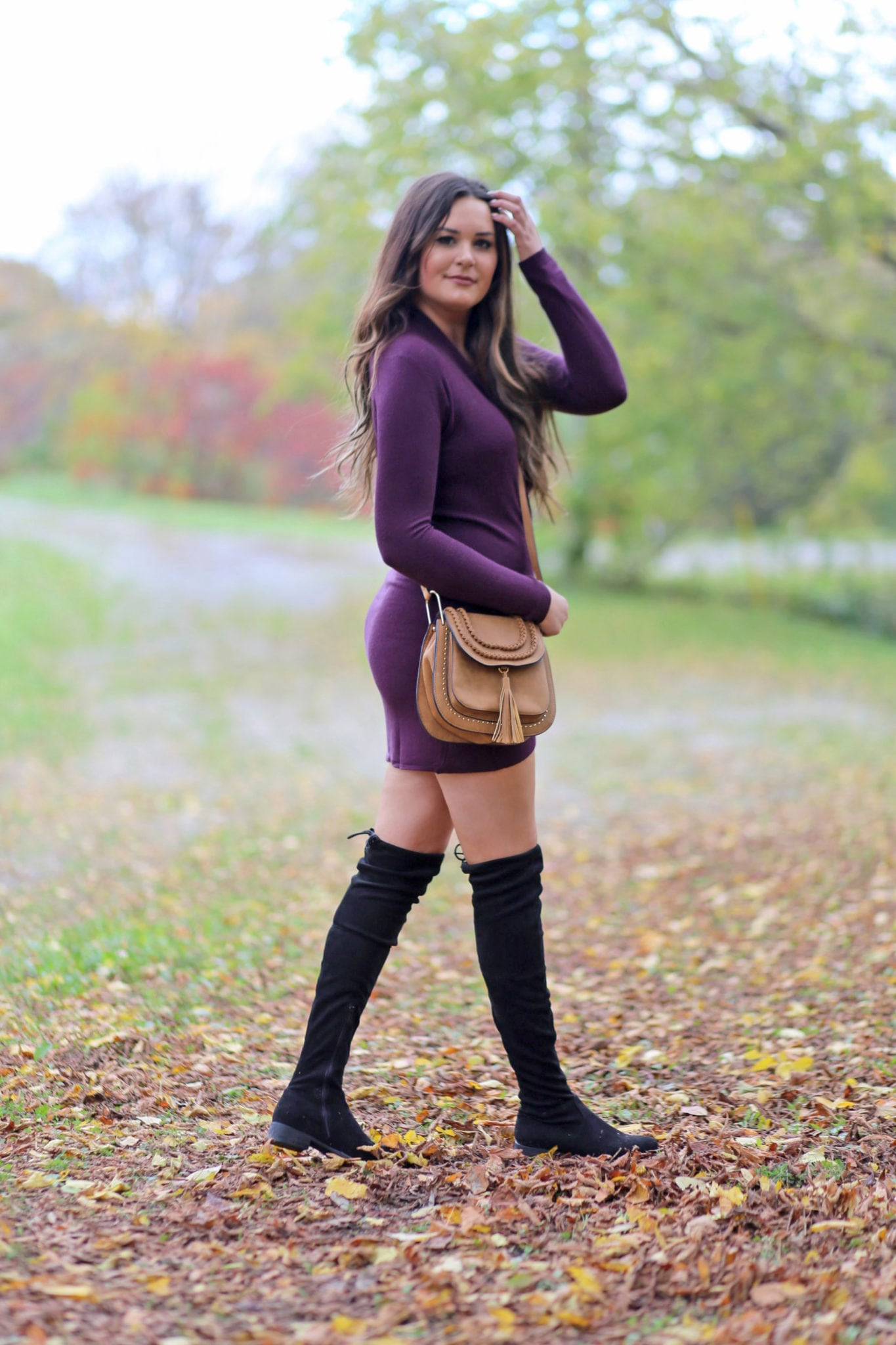 Flattering bodycon dress | long hair balayage | cute over the knee boots