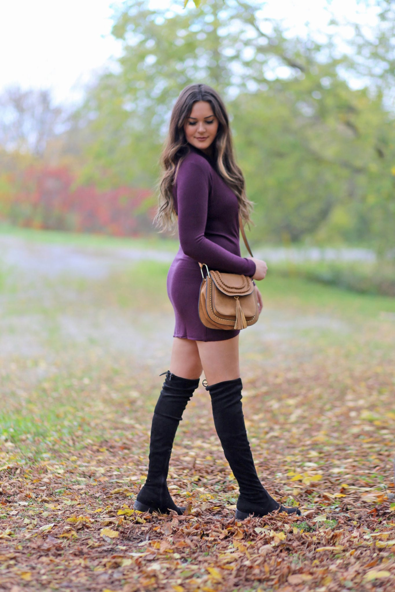flattering bodycon dress for size 6 | womens style for less | chloe designer bag dupe | purple dress | the best flat over the knee boots