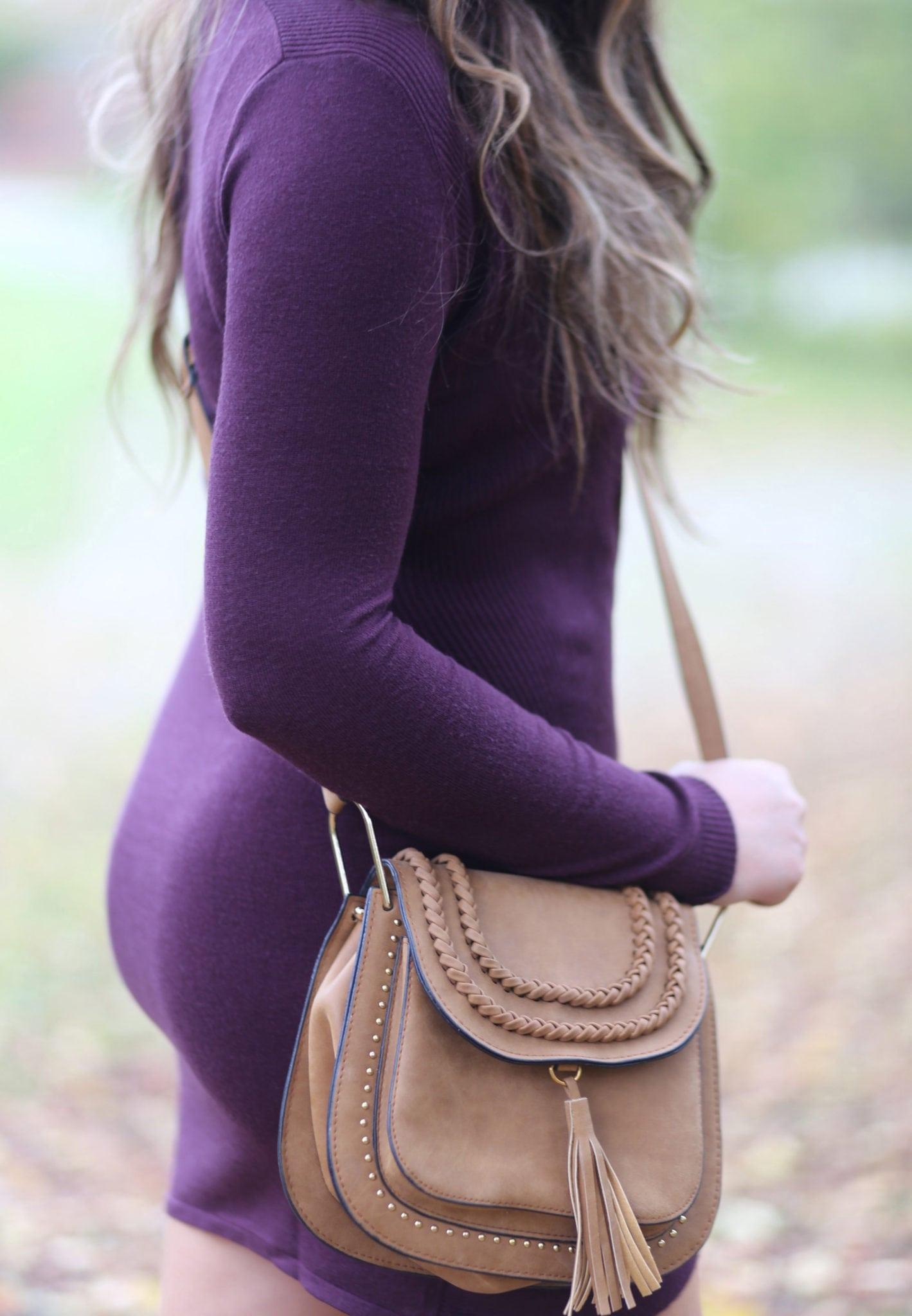 Style blogger Mash Elle shares a cute purple flattering fall dress