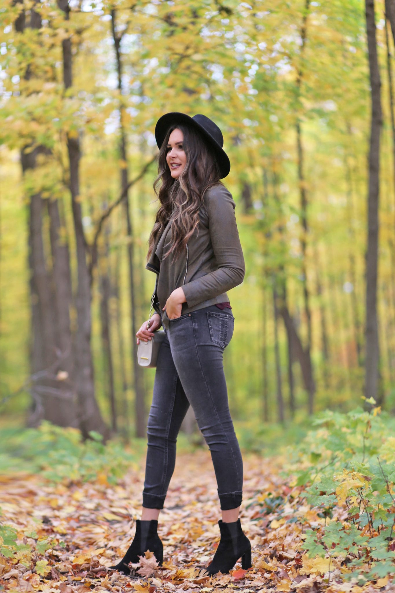 cute fall jackets for less | tall girl fashion | black wide rimmed hat | comfortable black booties | designer handbag dupe