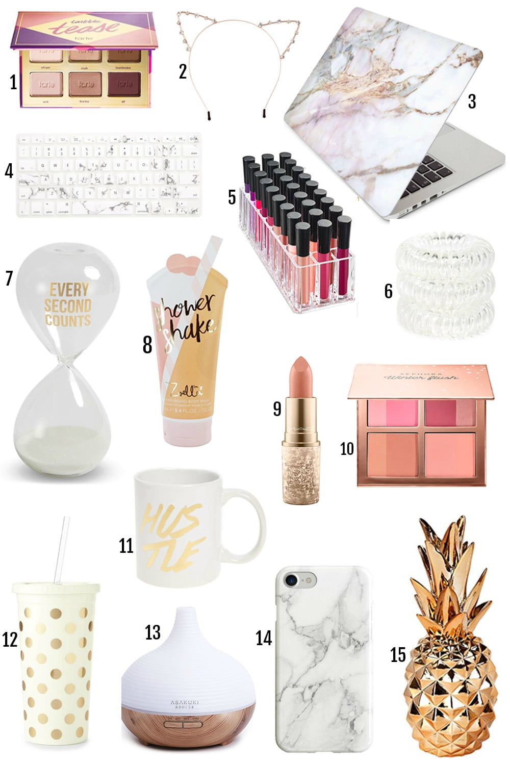 The BEST Gifts For Her Under $25 by popular Orlando style blogger Mash Elle | marble computer case and keyboard protector | glitter cat ears | polka dot kate spade tumbler | gifts for teenagers
