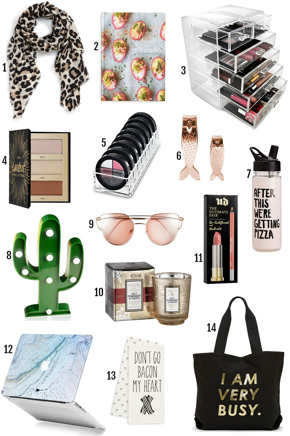 The BEST Gifts For Her Under $25 by popular Orlando style blogger Mash Elle | gifts for fit girls | gifts for girls who love yoga | mermaids, cactus, bacon, I am very busy, urban decay, pizza, leopard print