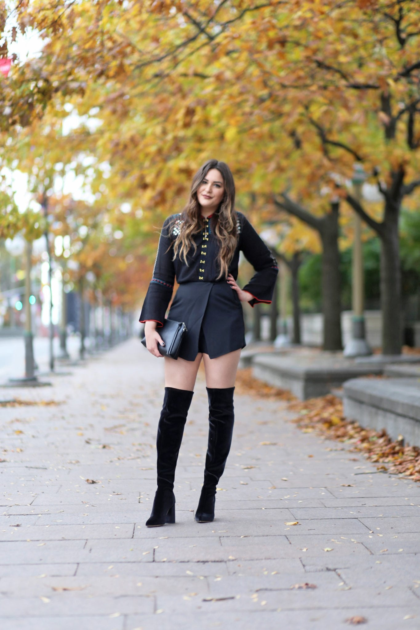 blogger Mash Elle | how to style OTK boots in warmer weather | otk boots | fall fashion | black otk boots