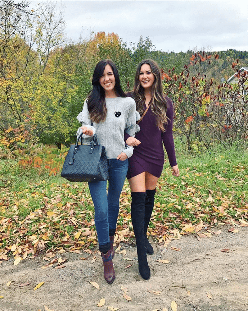 brunette twins pose | comfortable over the knee boots | Henri Bendel bags | balayage hair