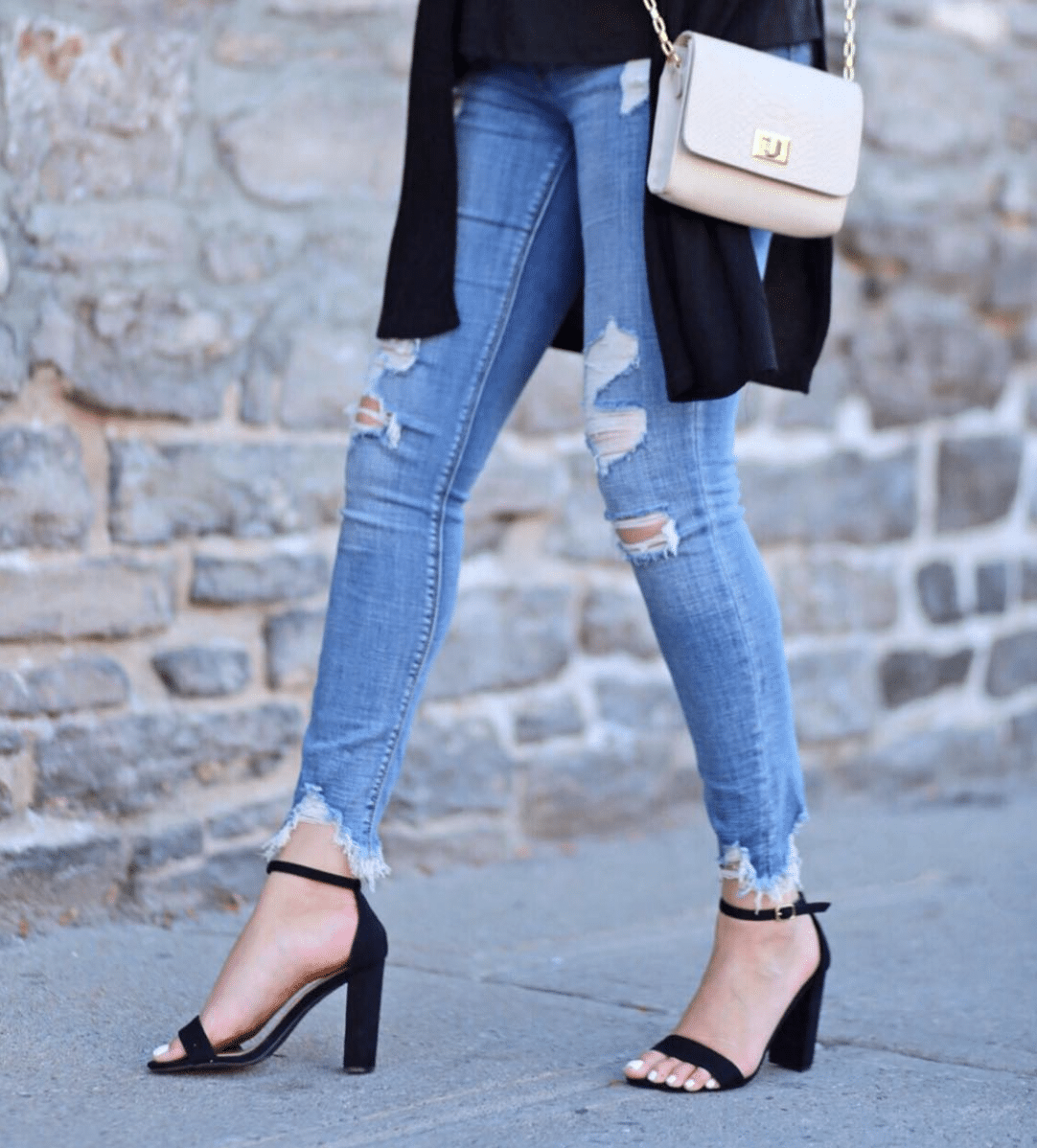 comfortable basic black heels for fall | designer bag dupe
