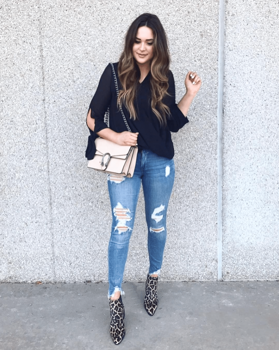 Gucci designer bag dupe styled | Mash Elle fashion blogger | leopard booties for less | comfortable skinny jeans for her