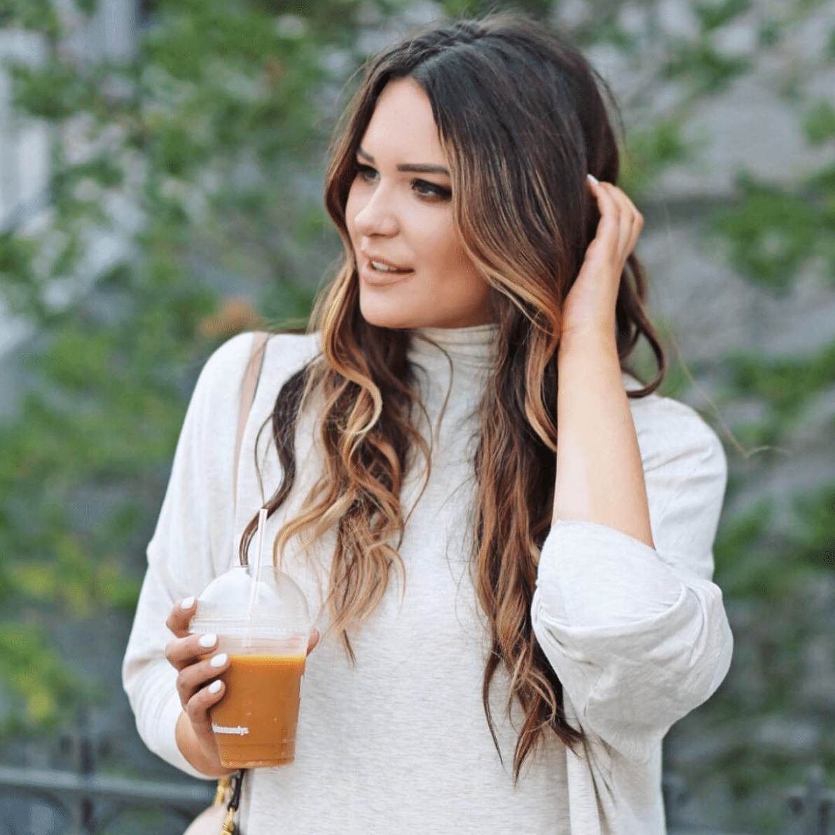 how to style long balayage hair | how to style a turtleneck top | best coffee in Montreal
