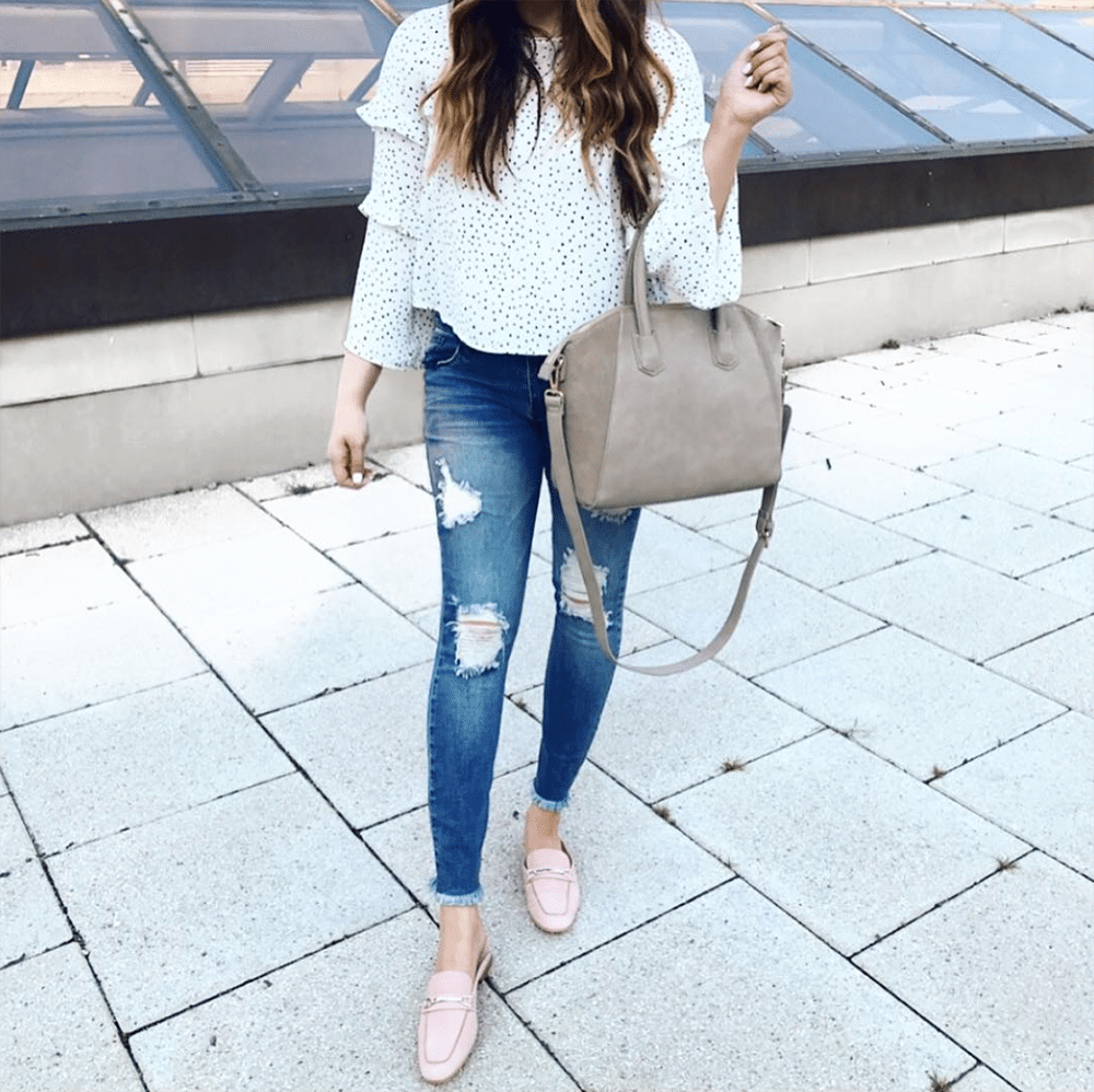 best Givenchy designer bag dupe for less | ripped jeans from Nordstrom Anniversary sale | pink loafers