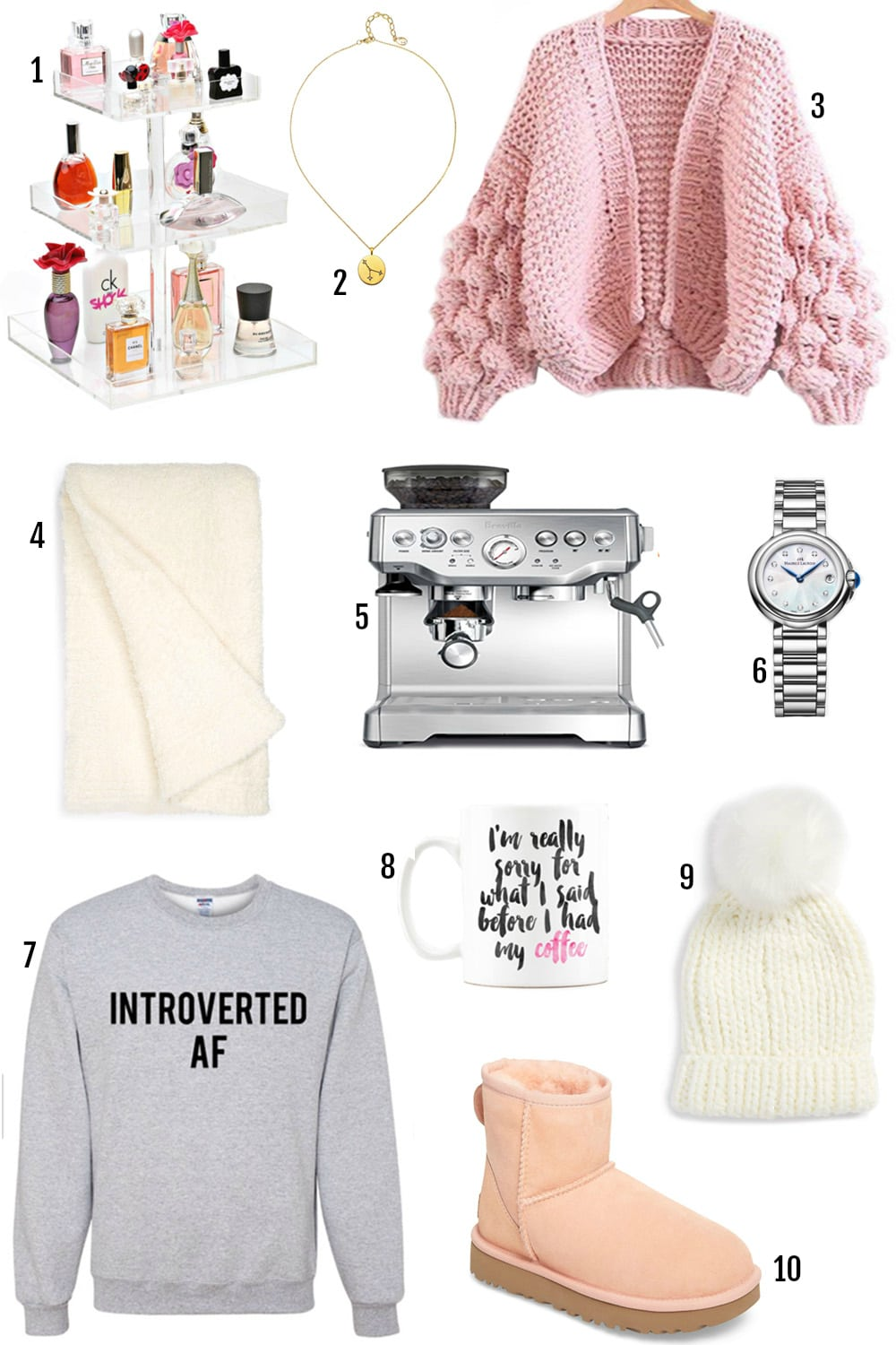 Gifts for introverts by Michelle Kehoe of Mash Elle | pom pom beanie | introverted AF graphic tee | personalized cursive mug | acrylic makeup organizer | astrology necklace gift
