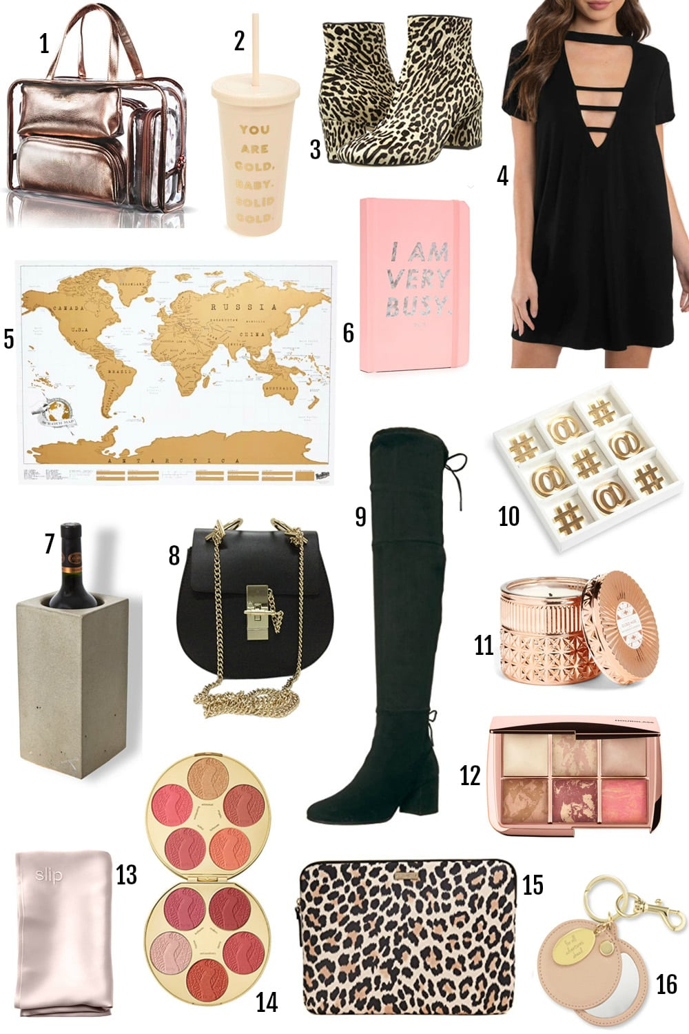 Mash Elle lifestyle blogger shares best gifts for her under $100 | gifts for the girl who has everything | best makeup gift sets | best travel gifts | candles, designer bags, over the knee boots, stationary