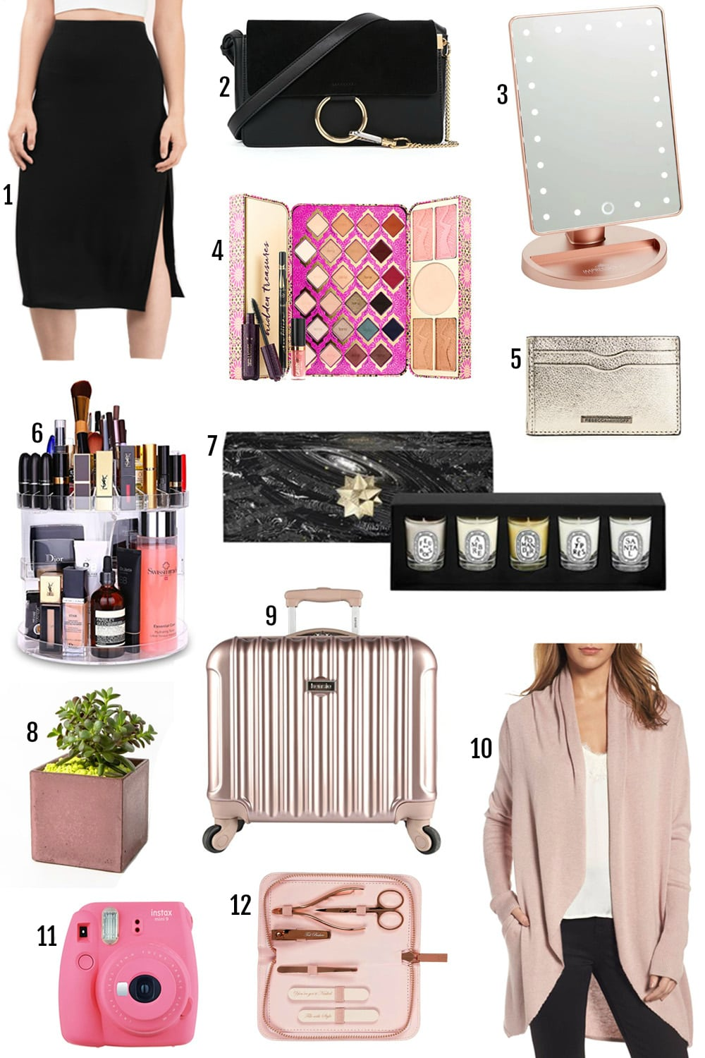 gifts for teenage girls | gifts for mom | polaroid camera, pink luggage, pink vanity mirror, acrylic makeup organizer | gifts for girls that love the Kardashians | gifts that ship in 2 days | Amazon
