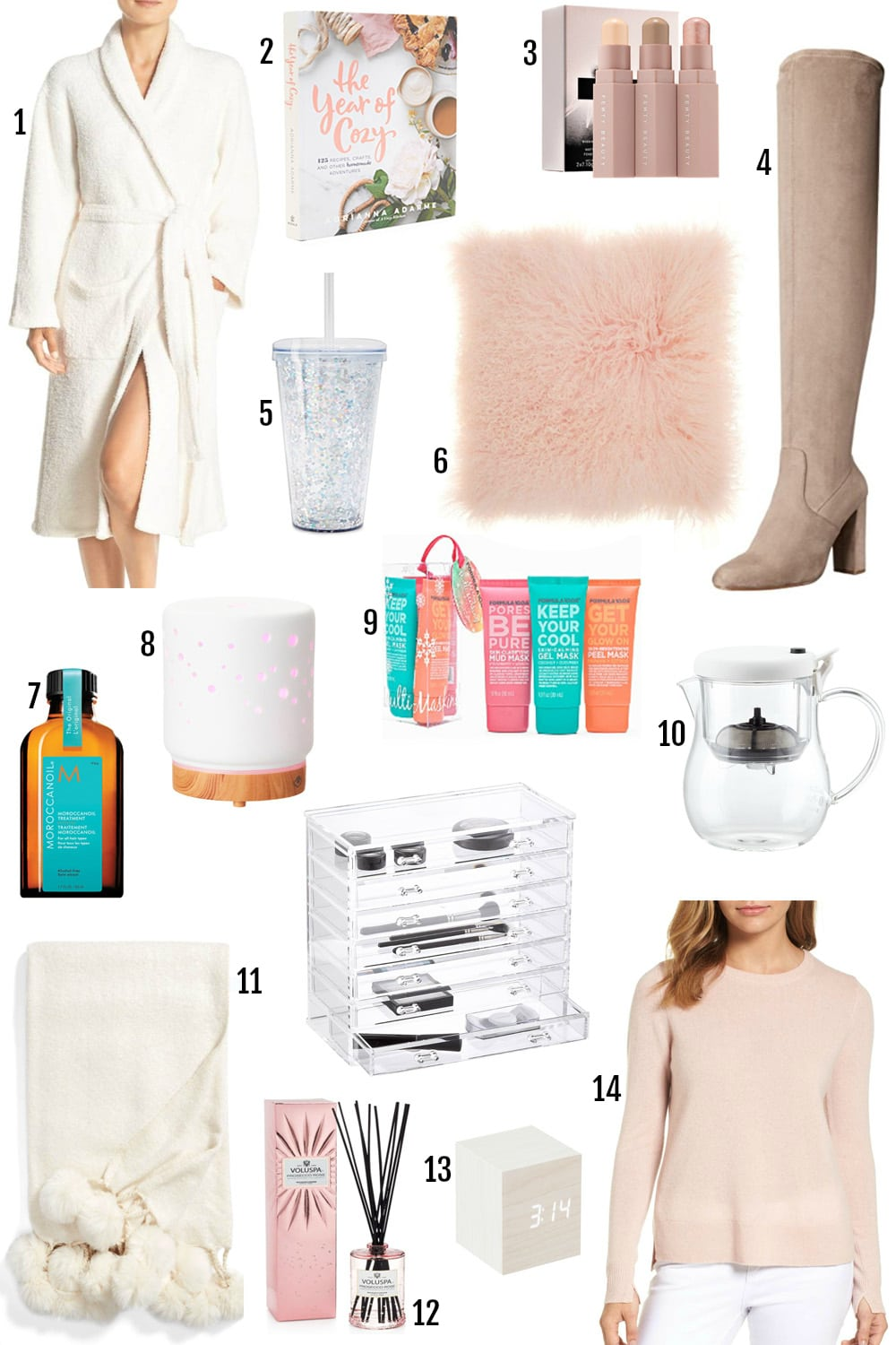 the year of cozy | gifts to pamper her | gifts for mom | gifts for sister, friend, best friend, aunt, neighbor | gifts for relaxation | rejuvenation | cozy sweater, sparkle tumbler, bathrobe