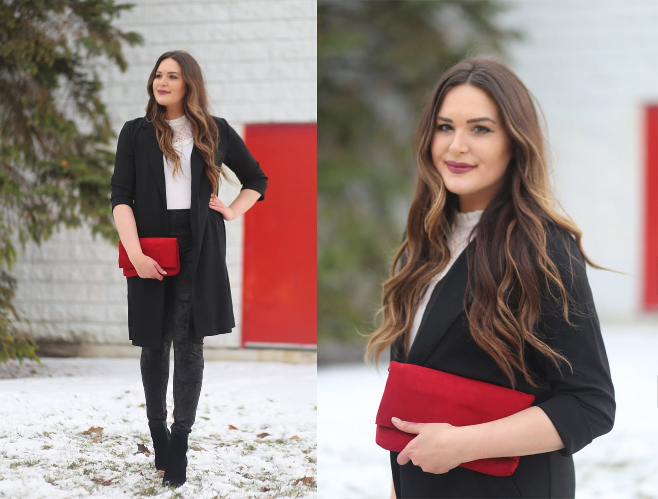 Marie's Bazaar Mash Elle | beauty bloggers | holiday outfit inspiration | red clutch | black and white holiday outfits