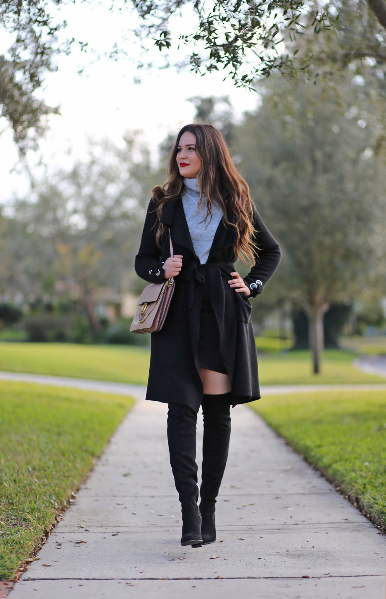Dynamite holiday outfit idea beauty blogger Mash Elle cold or warm weather otk boots coats skirt black outfit winter fashion