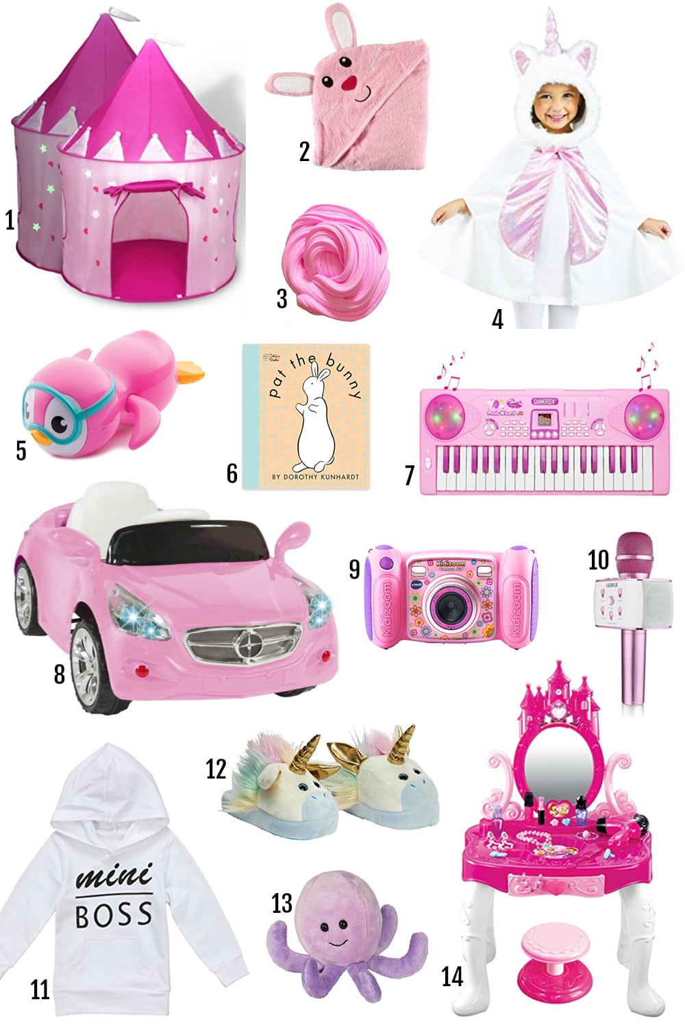 gifts for toddlers | gifts for young girls | educational gifts for her | Disney | mercedes benz car for toddler | books, makeup vanity, unicorn cape, princess playground, pink gifts, slime
