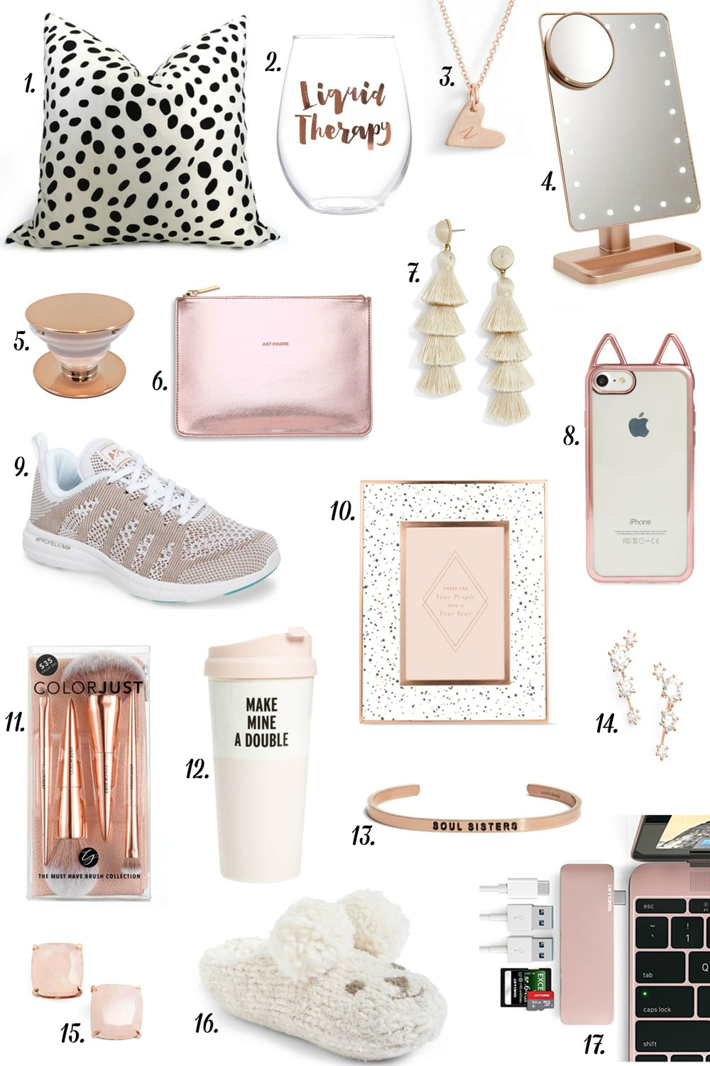 Best gift ideas for your best friend | liquid therapy glass | polka dot pillow | make mine a double kate spade tumbler | kate spade stud earrings | best gifts for teenagers, young adults, women, mom, sister | fashion, beauty and lifestyle blog Mash Elle