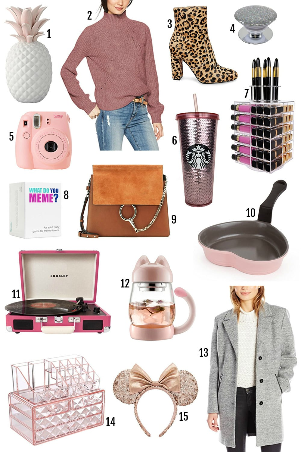 Lifestyle blogger Mash Elle shares gifts for teenagers and young adults. Starbucks rose gold tumbler | disney mickey ears | makeup organizer | stocking stuffers | affordable unique gifts