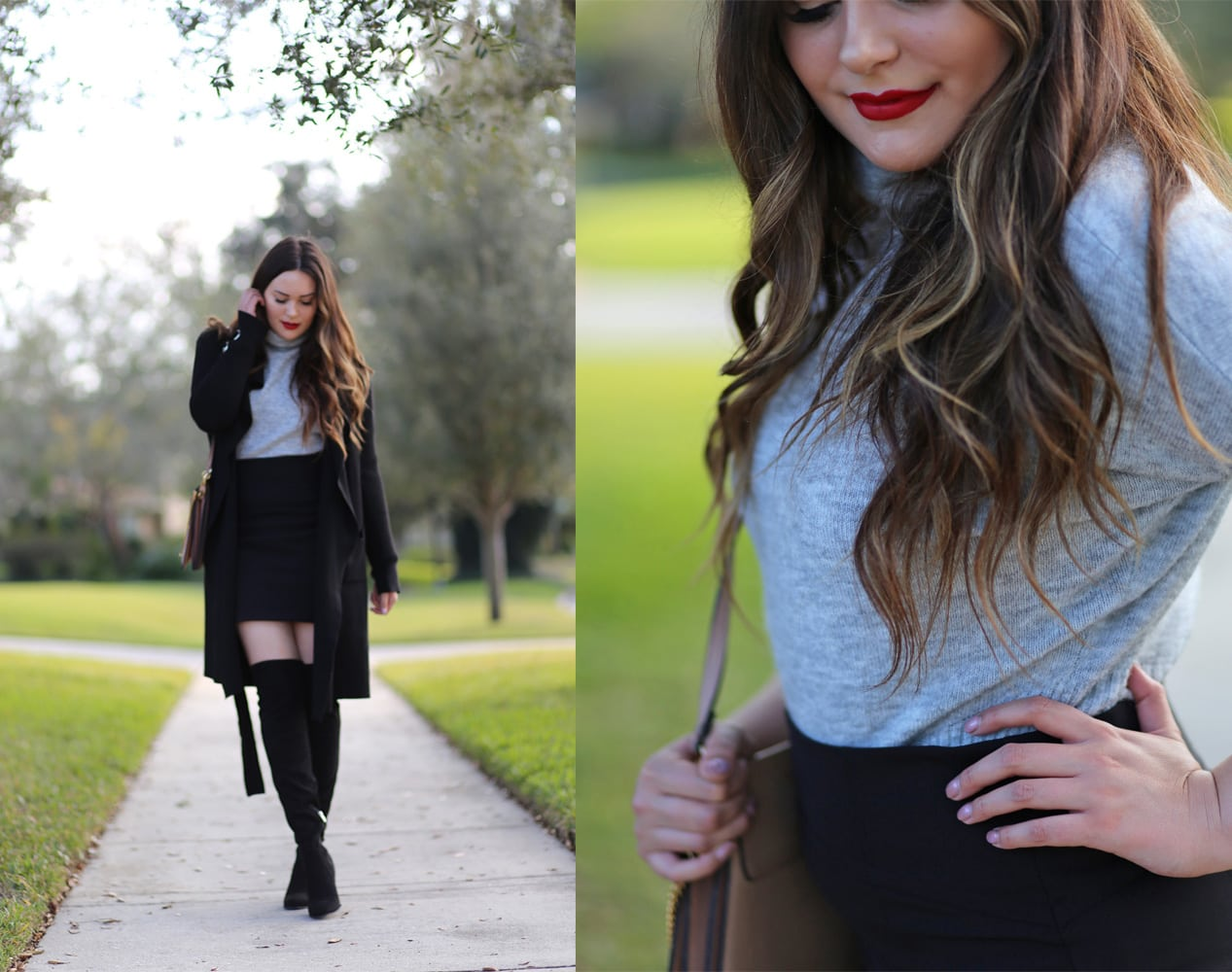 Dynamite holiday outfit idea | beauty blogger Mash Elle | cold or warm weather outfit | otk boots | coats | skirt black outfit | winter fashion