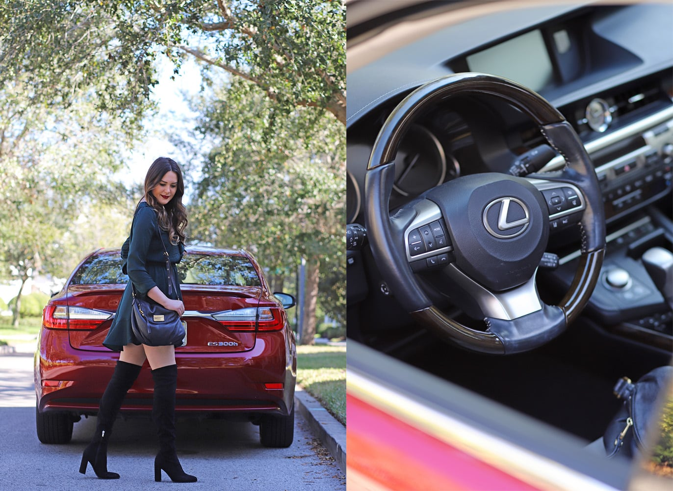 Affordable flattering little black dress christmas outfit beauty blogger Mash Elle red lexus