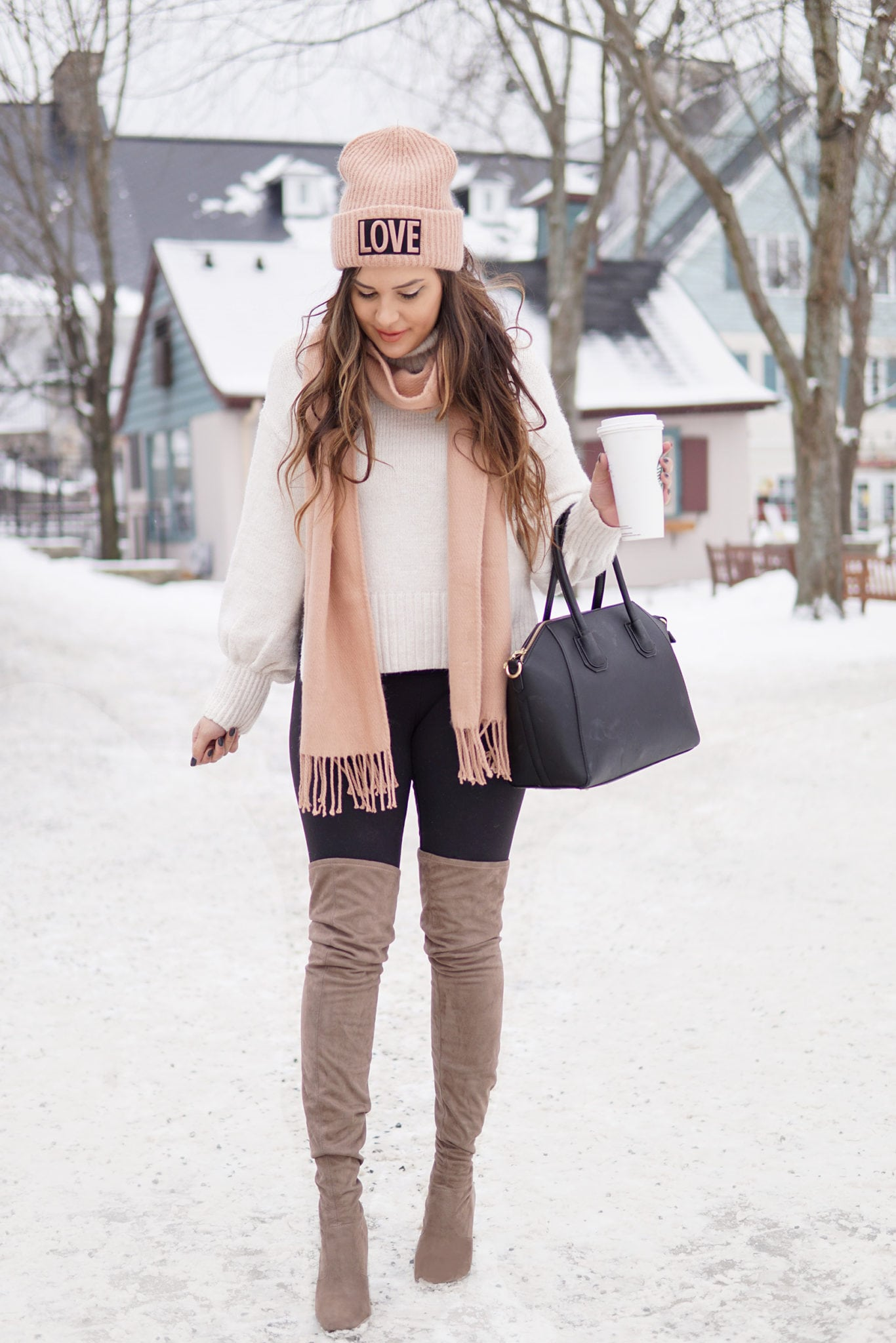 winter fashion outfit | staying warm | beauty blogger Mash elle | pink scarf | pink hat | otk boots, snow