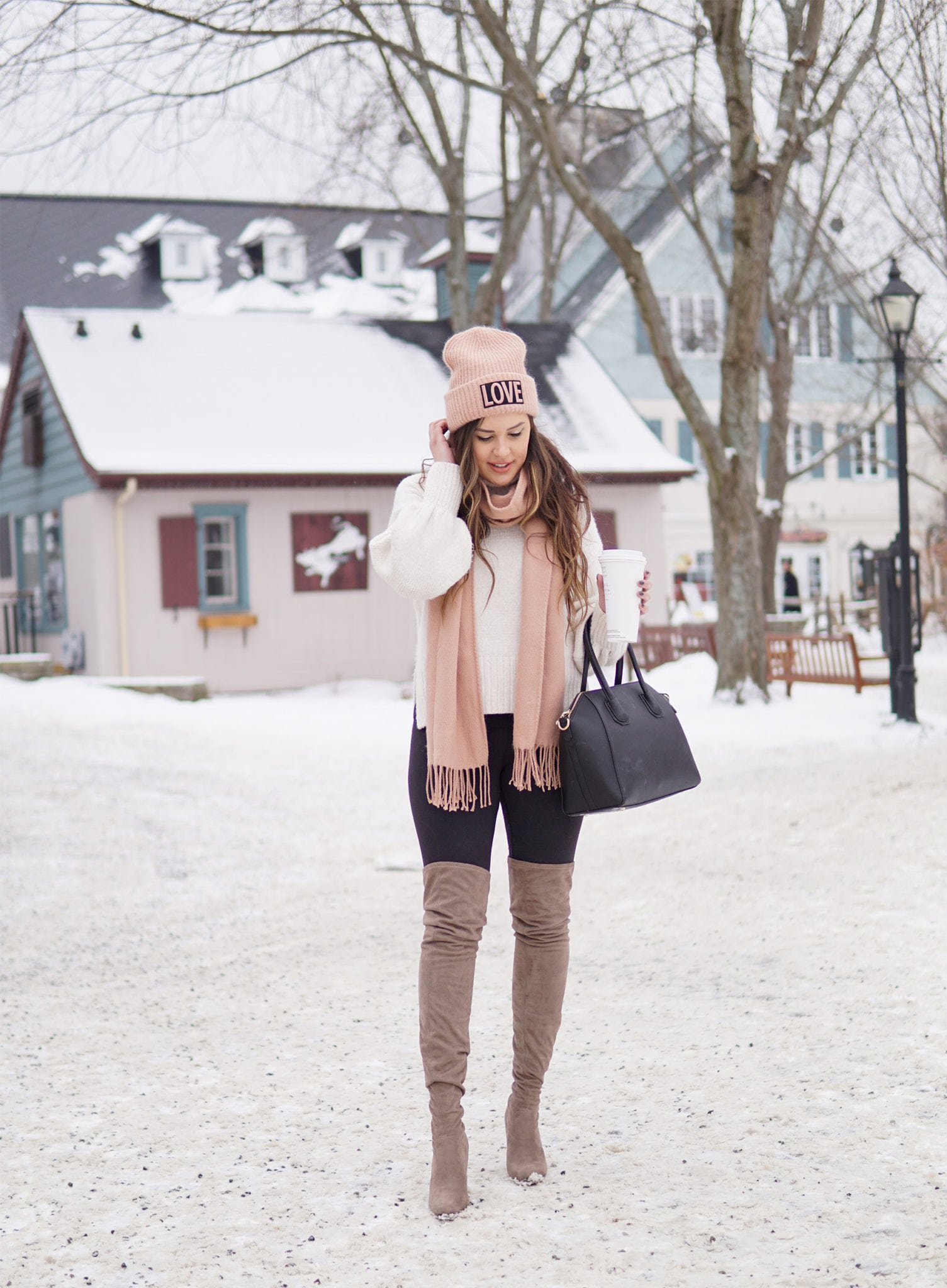 winter fashion outfit | staying warm | beauty blogger Mash elle | pink scarf | pink hat | otk boots, snow | Marie's Bazaar
