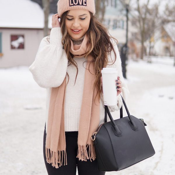 winter fashion outfit stay warm beauty blogger Mash elle pink scarf, pink hat,, otk boots, snow