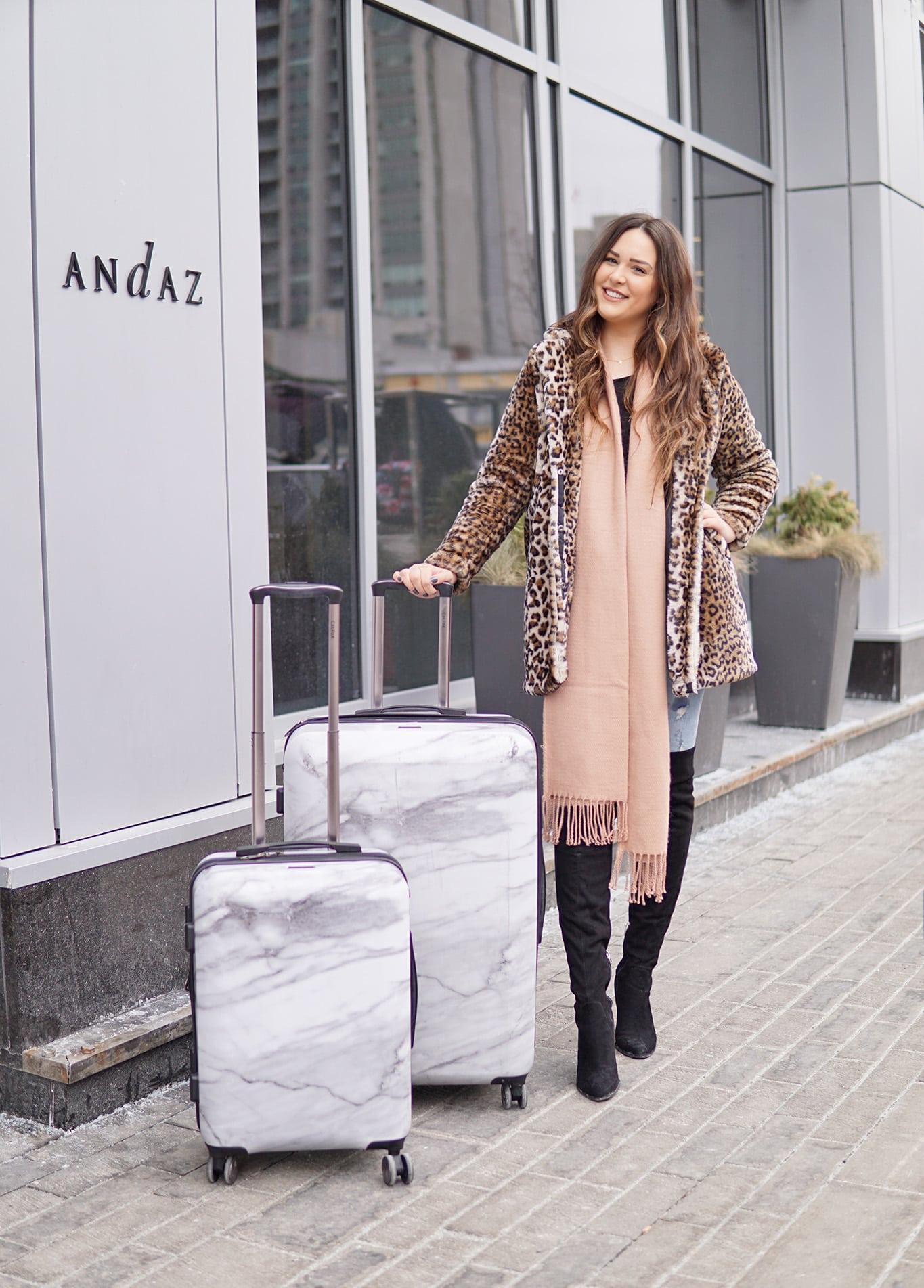 leopard print jacket outfit idea beauty blogger Mash Elle marble print suitcase Andaz