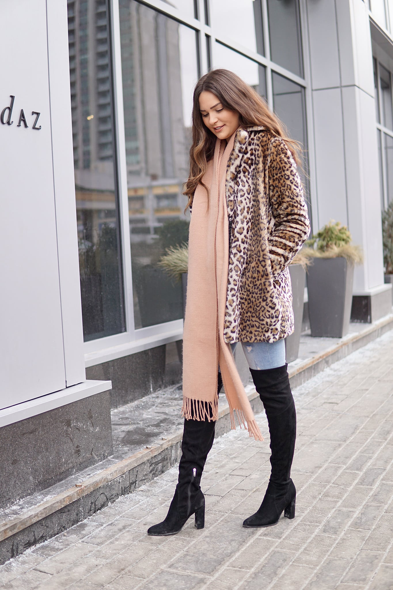 leopard print jacket outfit idea beauty blogger Mash Elle camel scarf