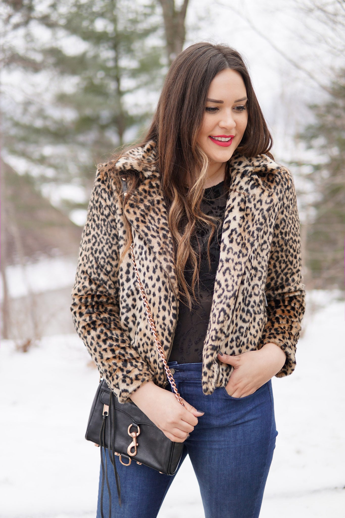 Mash Elle fashion beauty blogger | winter fashion | leopard and lace outfit | jeans winter outfit | leopard print jacket