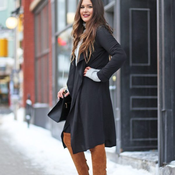Mash Elle cold weather business casual suede knee boots coat jeans city