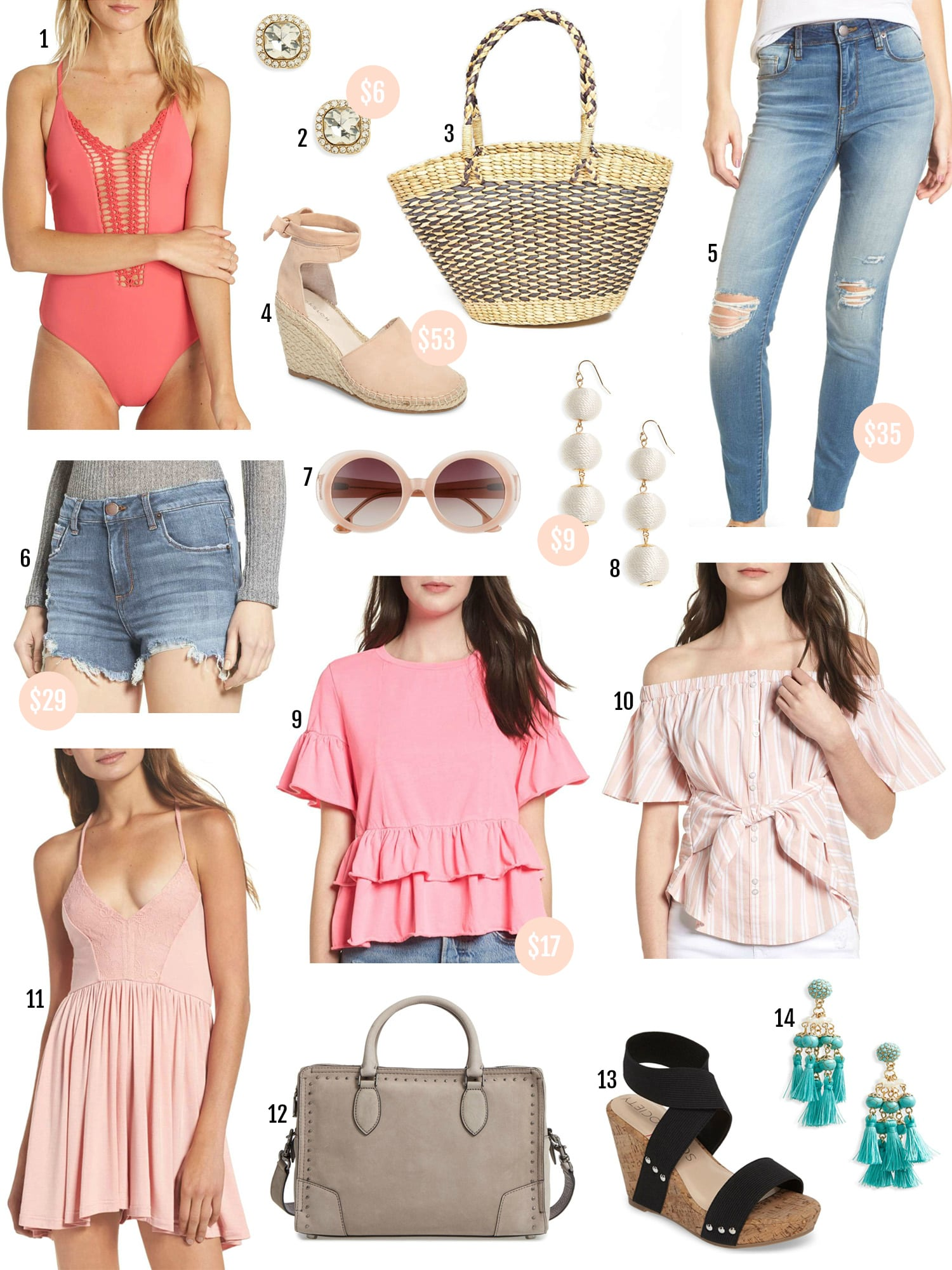 Spring fashion | beauty blogger Mash Elle | Spring outfits | affordable fashion | woven handbag | wedge heels