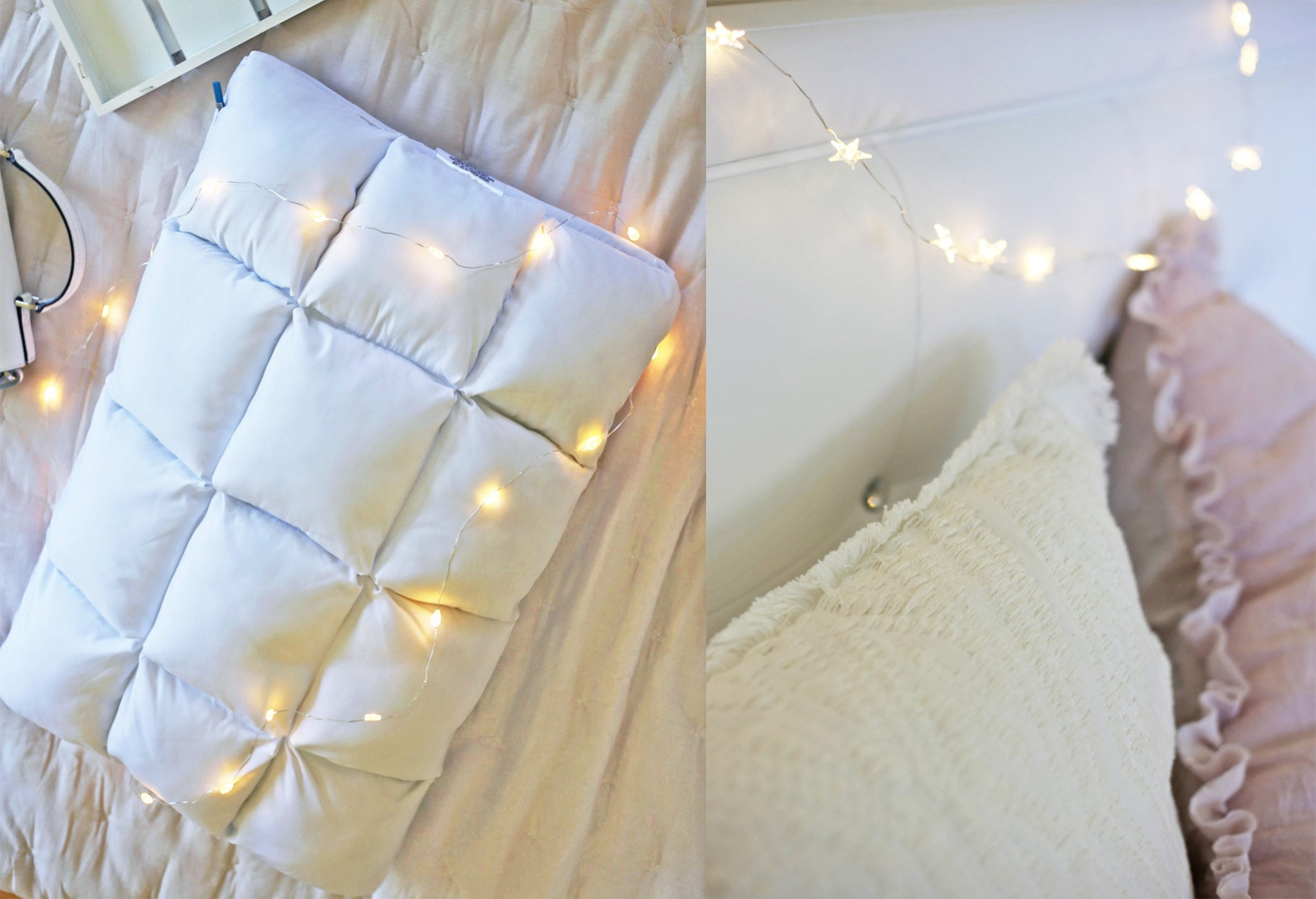 bedroom inspiration | Mash Elle lifestyle blogger | white neutral room decoration | home decor | fairy lights