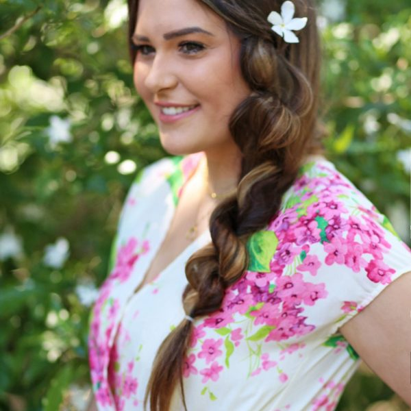 Mash Elle side twist no extensions hairstyle long hair look for spring floral romper pink and white