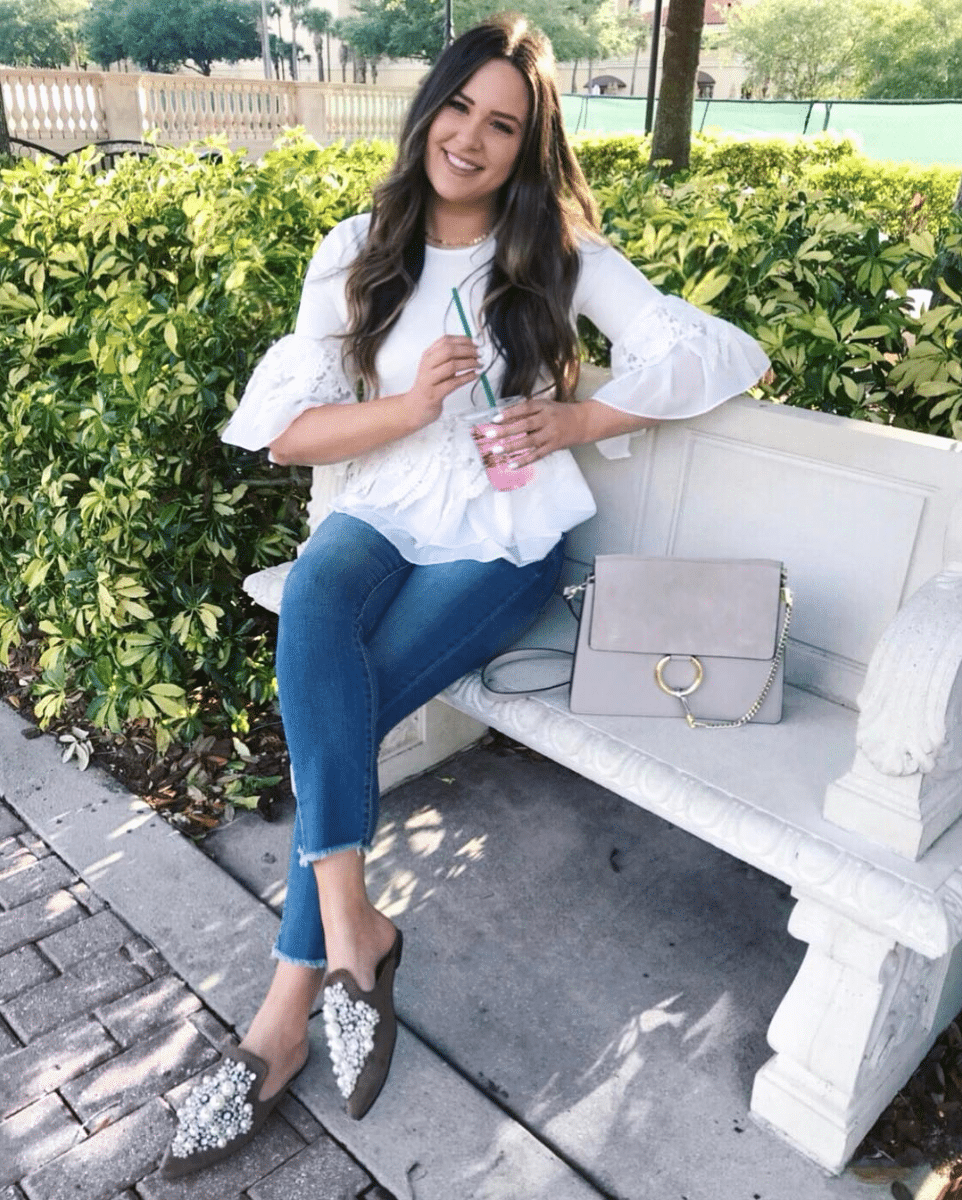 shop my instagram roundup styles Mash Elle flats and jeans sitting on bench