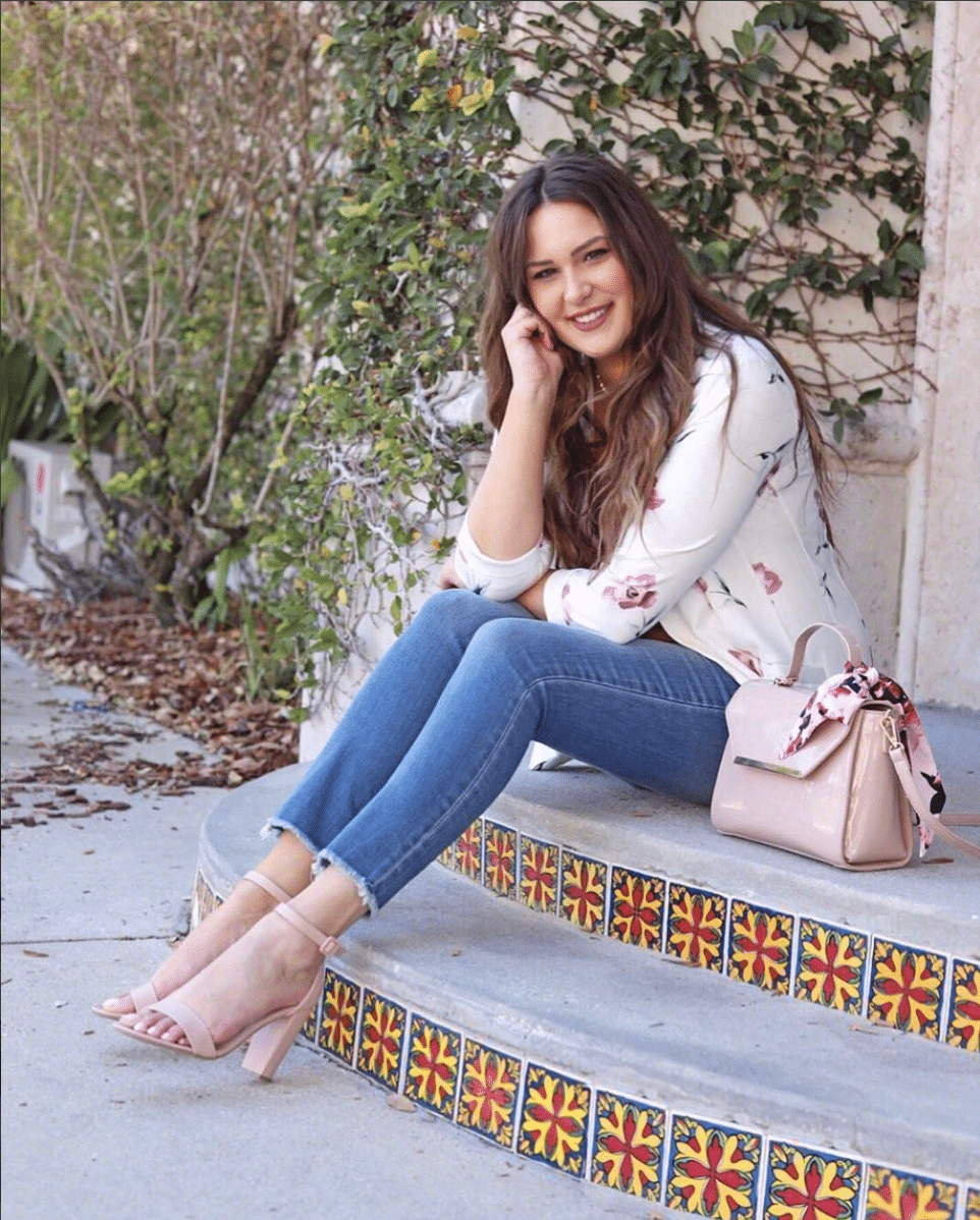 shop my instagram roundup styles Mash Elle white blouse with flowers, jeans