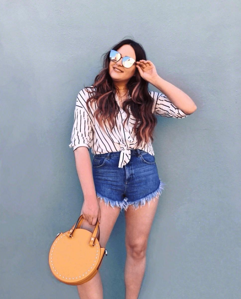shop my instagram roundup styles Mash Elle striped blouse jean shorts