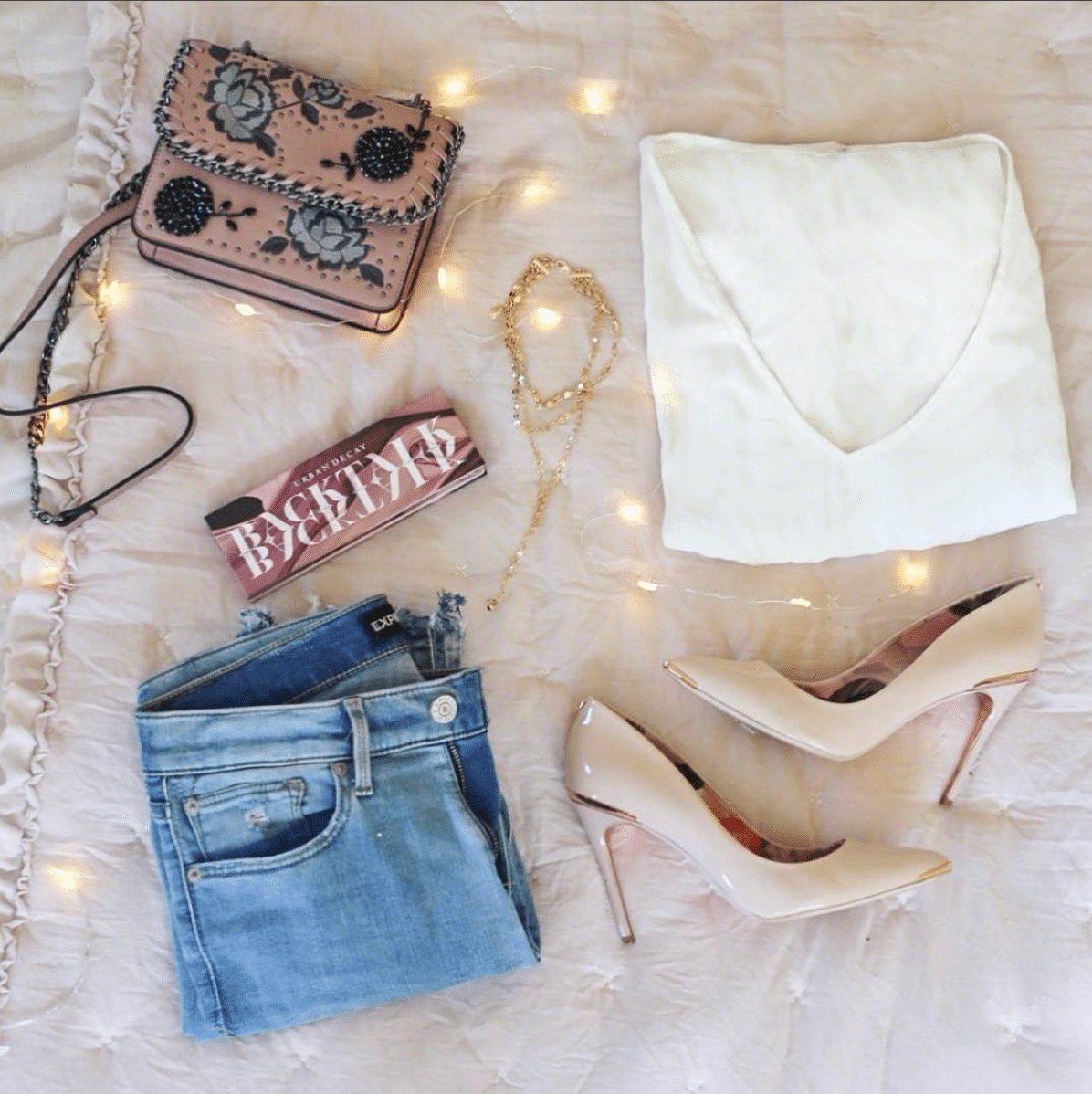 shop my instagram roundup styles Mash Elle white top jeans nude heels