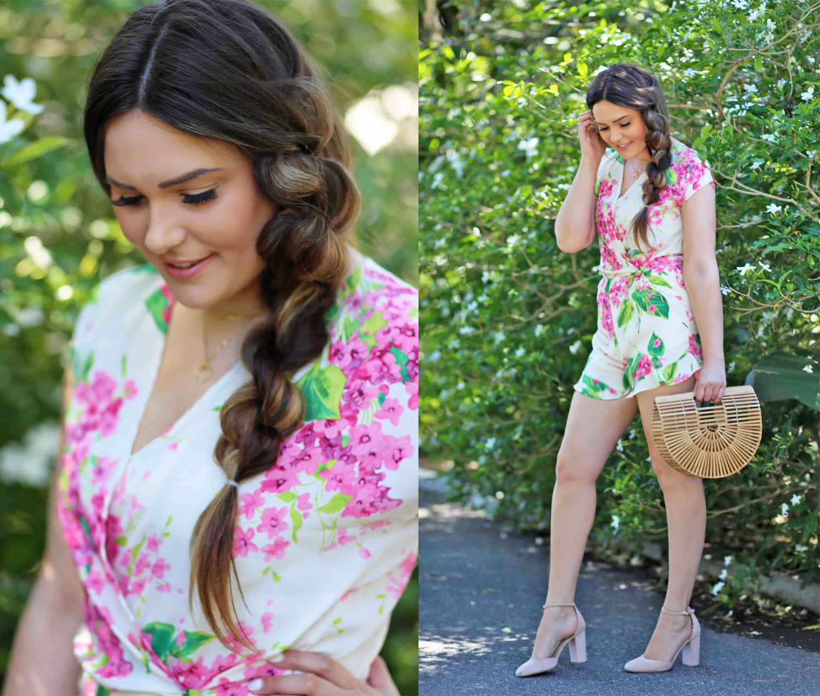 Mash Elle beauty blogger | side twist hair | no extensions hairstyle | long hair | spring style | floral romper pink and white