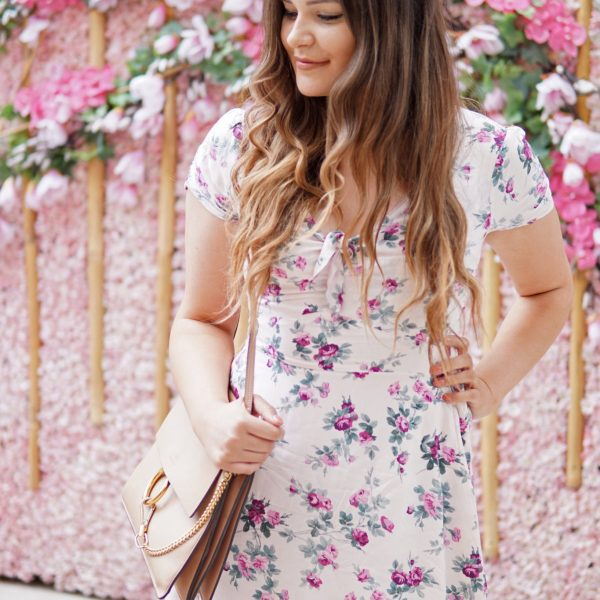 Mash Elle beauty blogger how to get longer healthier hair pink flowers dress