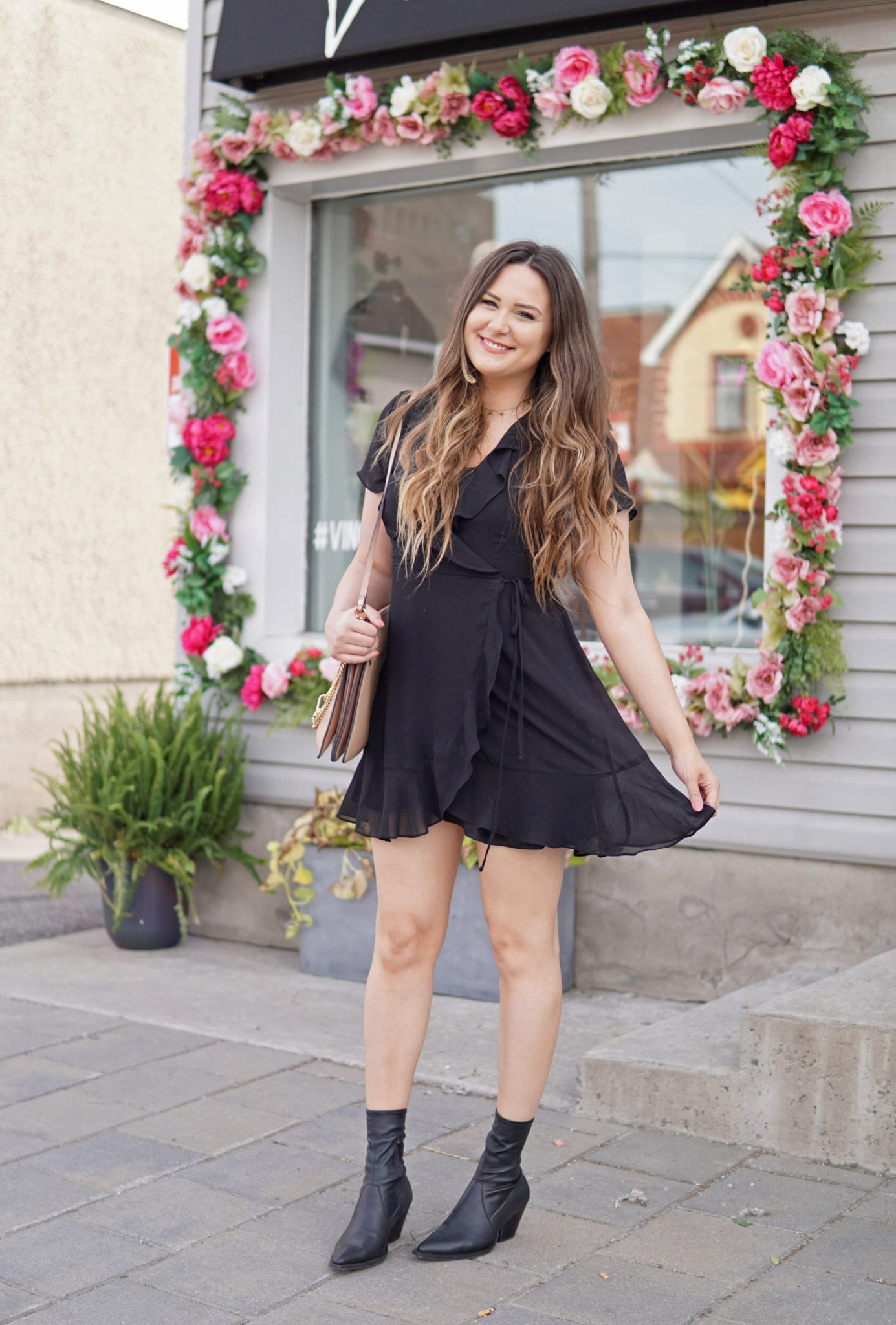 Mash Elle beauty blogger | sassy date night look | date night outfit | LBD | black dress | boots and dress outfit