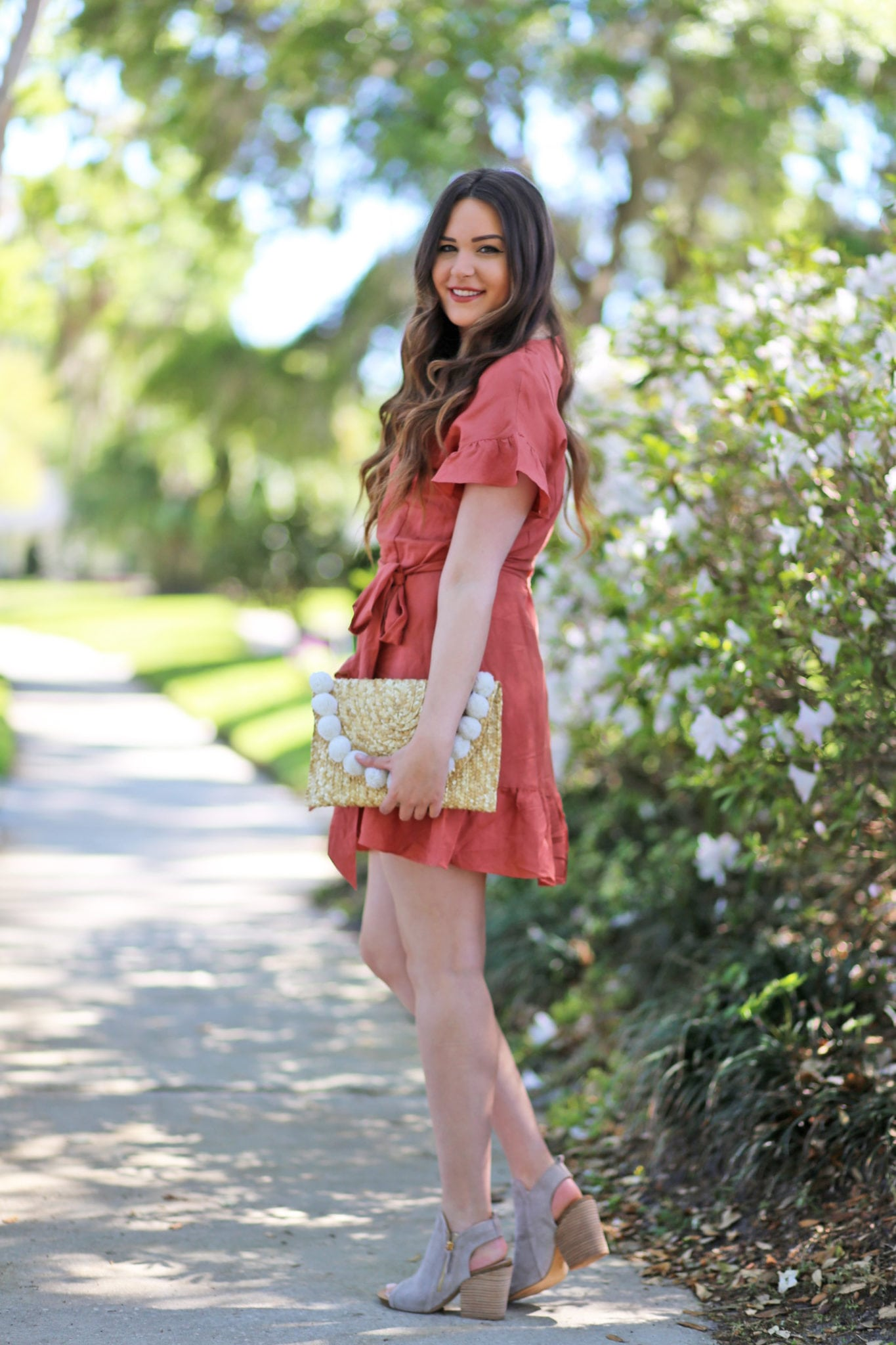 best wrap dresses for summer | pom clutch |wrap dress | pink dress | beauty blogger Mash Elle