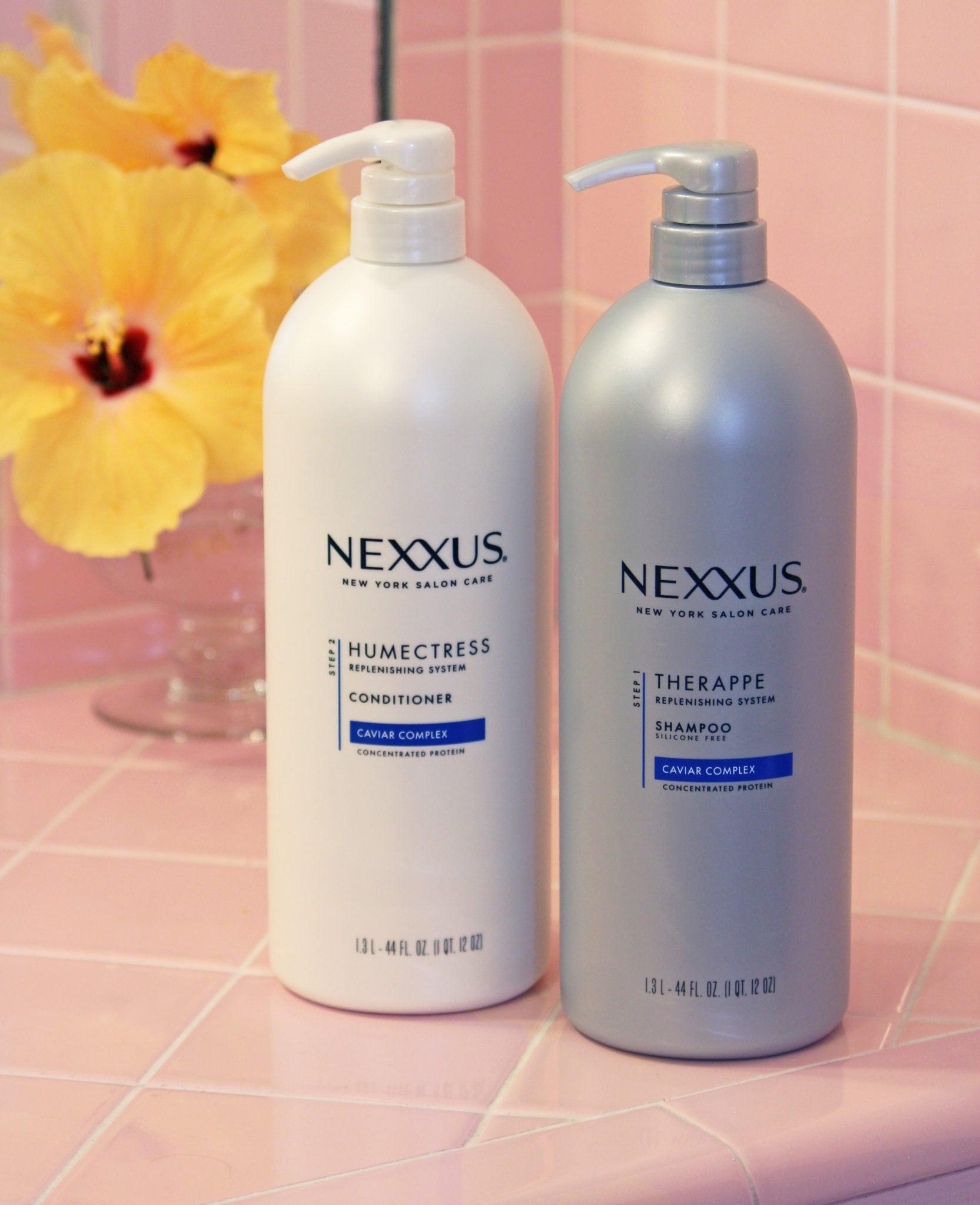 nexxus hair care pink bathroom flowers beauty blogger Mash Elle summer scarf tutorial