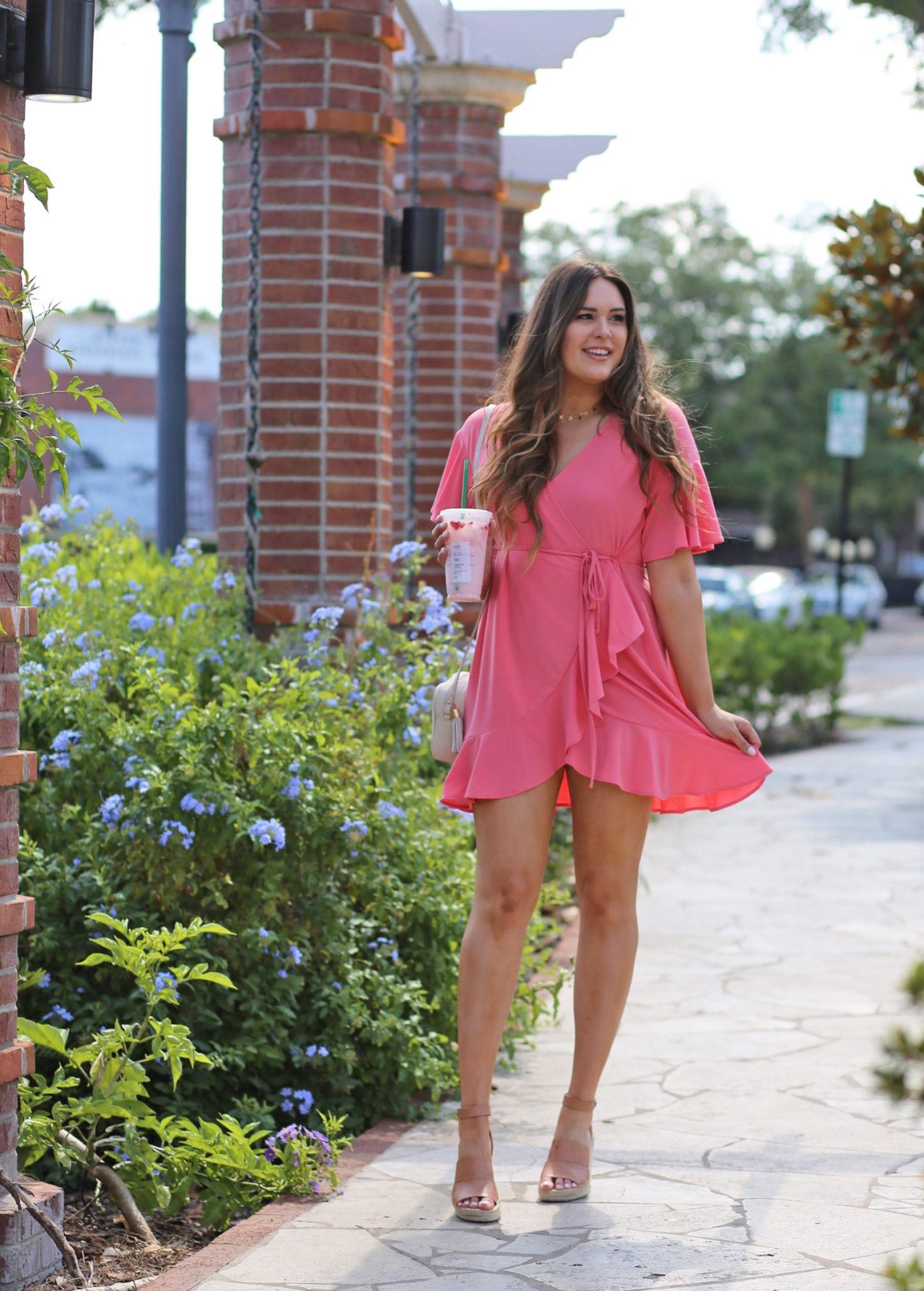 Mash Elle beauty blogger   Mash Elle   baby shower outfit   baby shower dress   pink dress   wrap dress pink drink starbucks    spring outfit   espadrilles   sandals