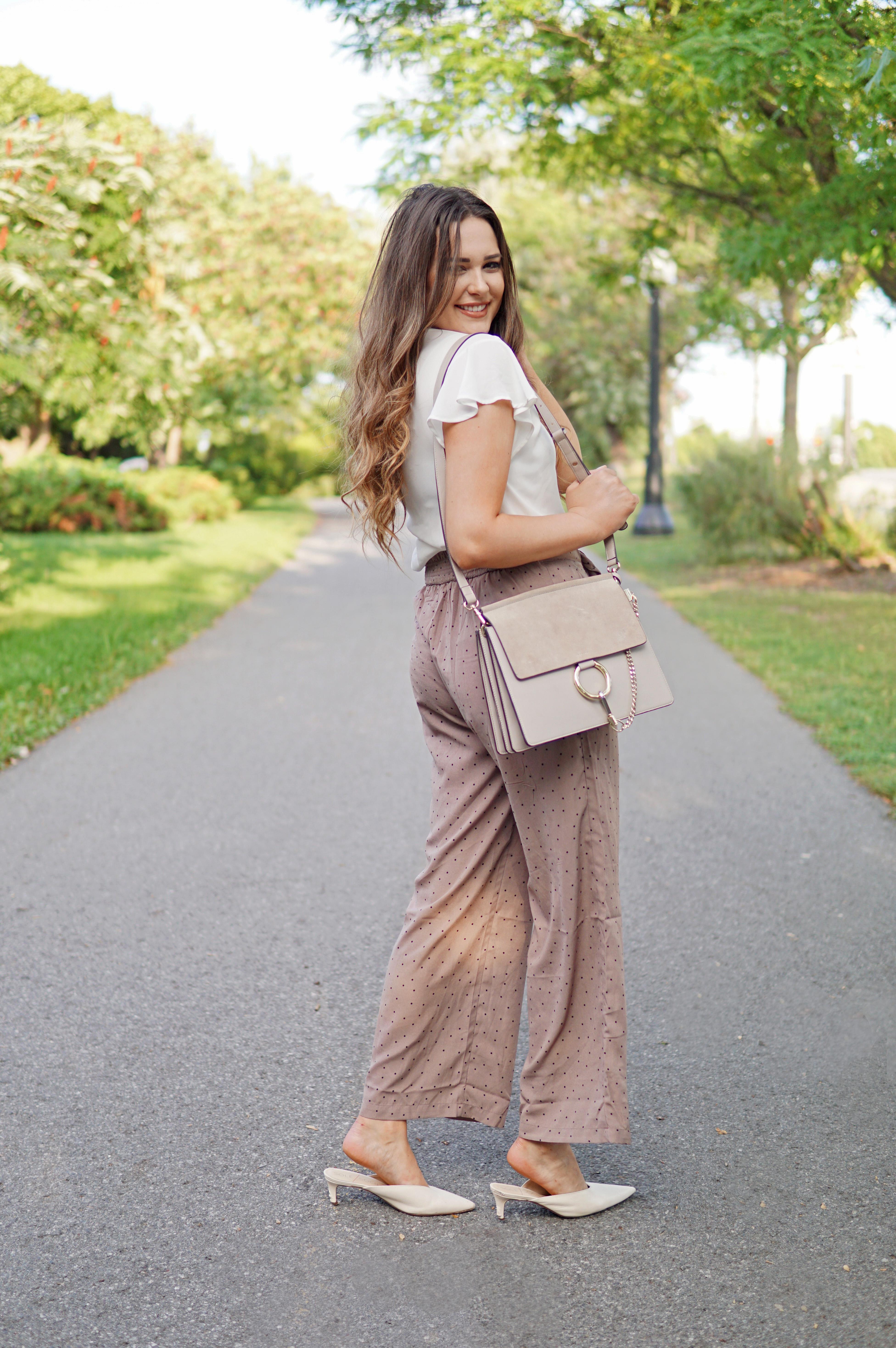 Mash elle beauty and lifestyle blogger | Chloe bag dupes | polka dot pants | ruffle top| | kitten heels | fall fashion
