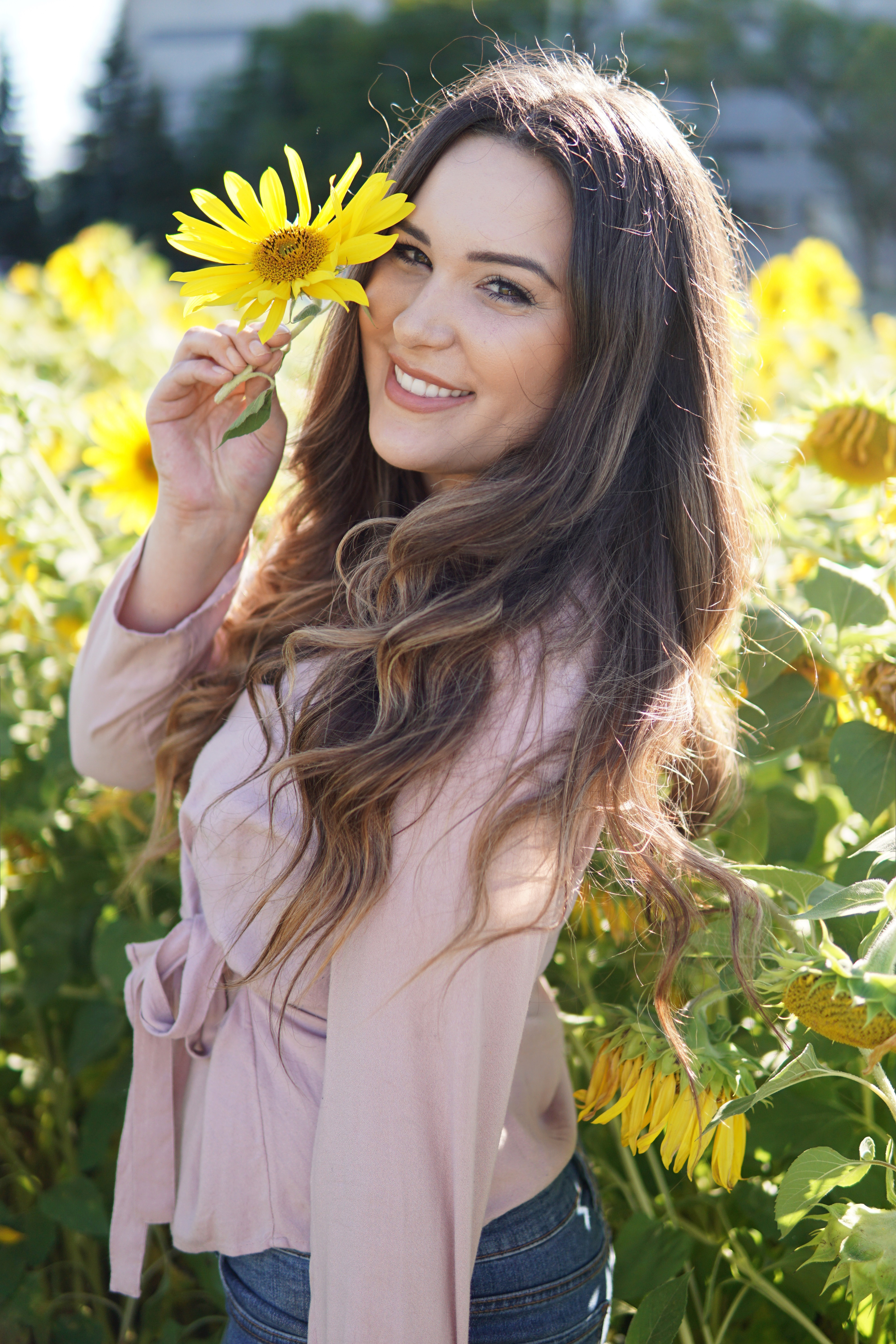 Mash Elle | pink shirt | hello fall hair care | changing seasons | Garnier Hair | sunflowers | hairstyle fall