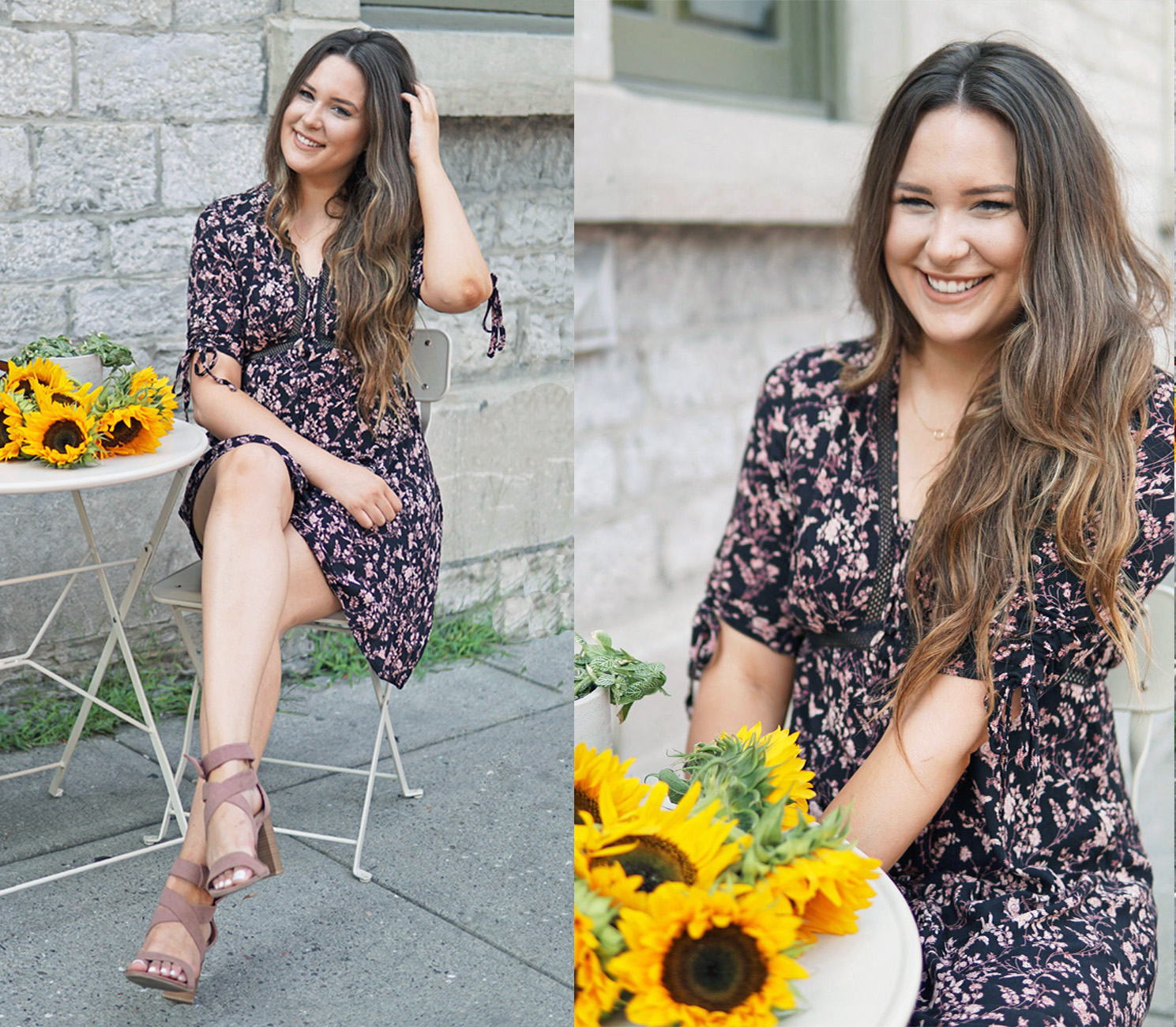 summer dress floral sunflowers high heels Mash Elle Kohls