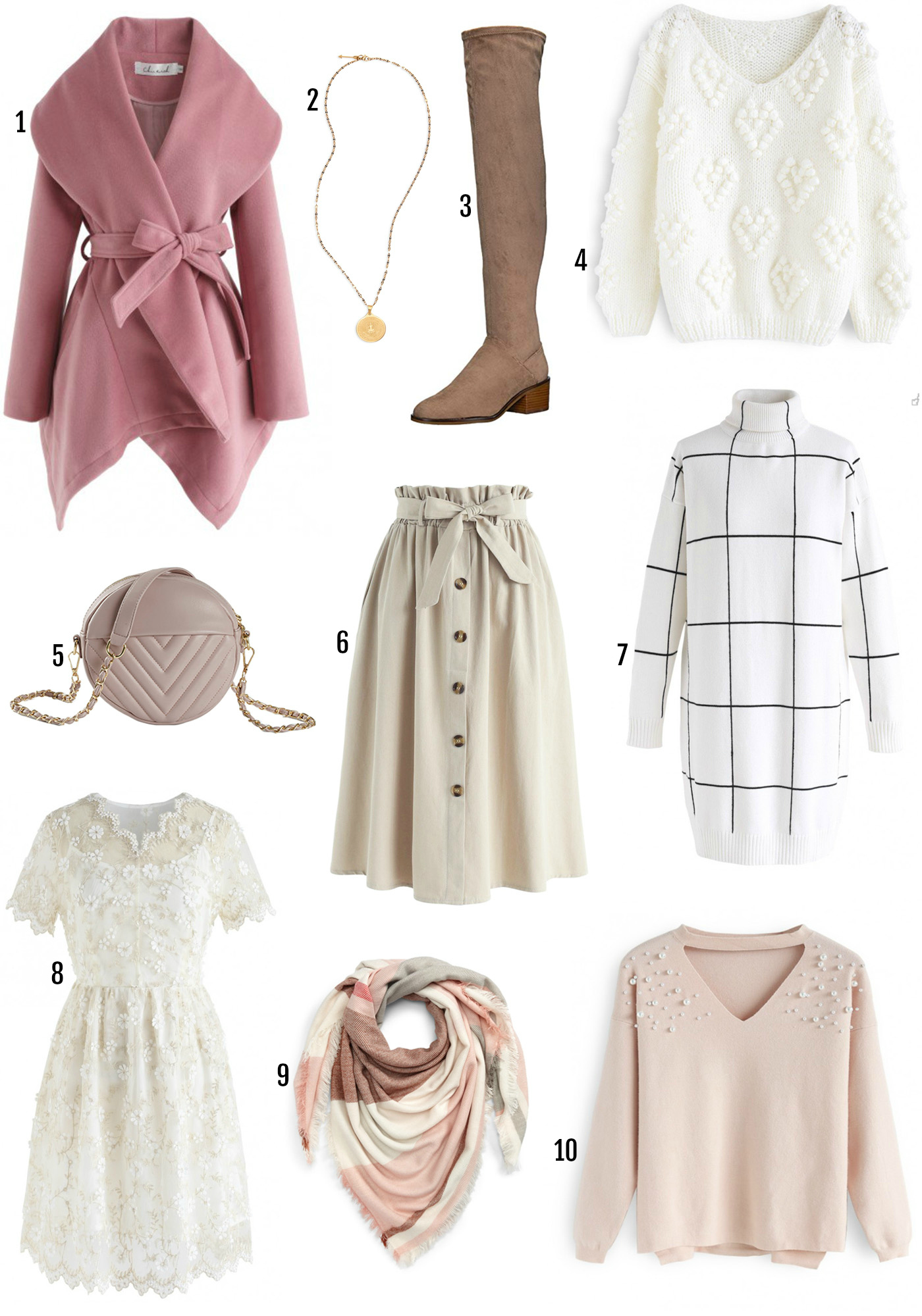 Mash Elle beauty blogger fall Fashion finds white pink fall clothes | where to buy the best fast fashion | trendy clothes for women | designer bag dupes | pearl embellished top | over the knee boots | stuart weitzman over the knee dupes