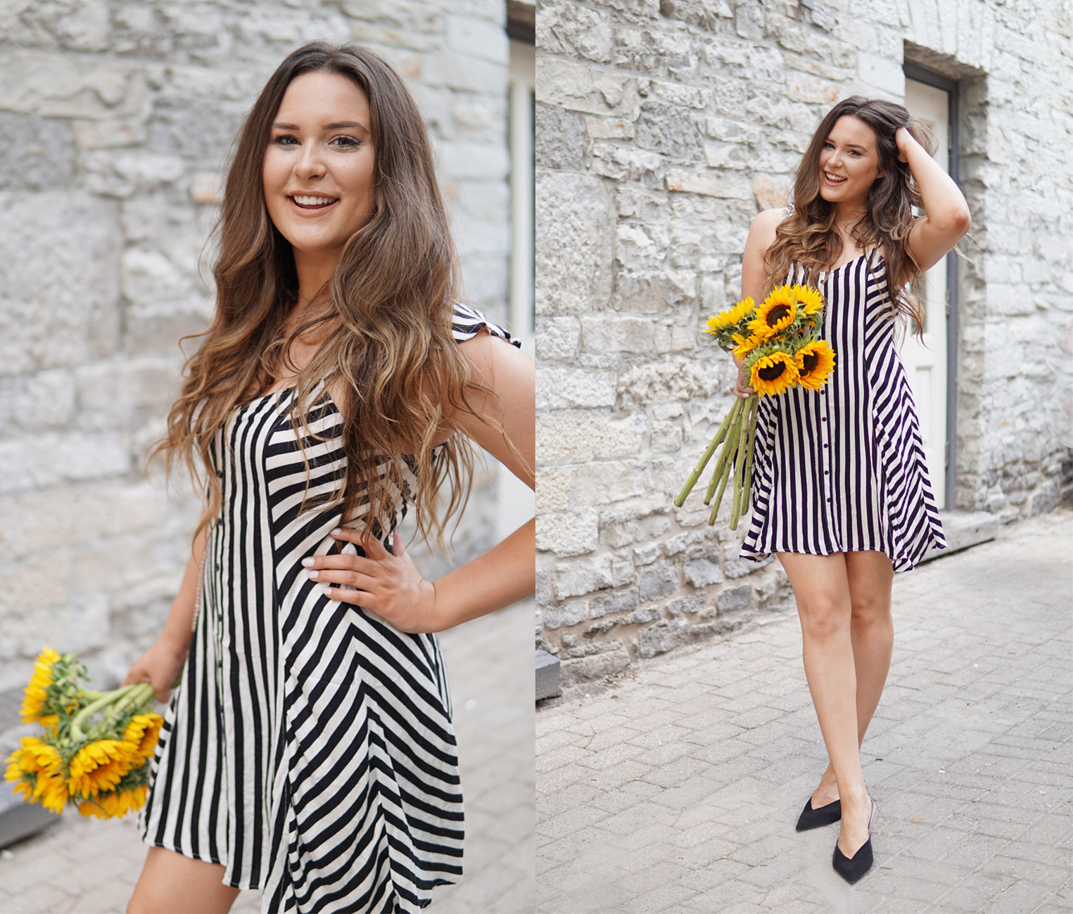 best striped dress | flattering dresses | Mash Elle fashion blog | modest dresses | summer nude makeup