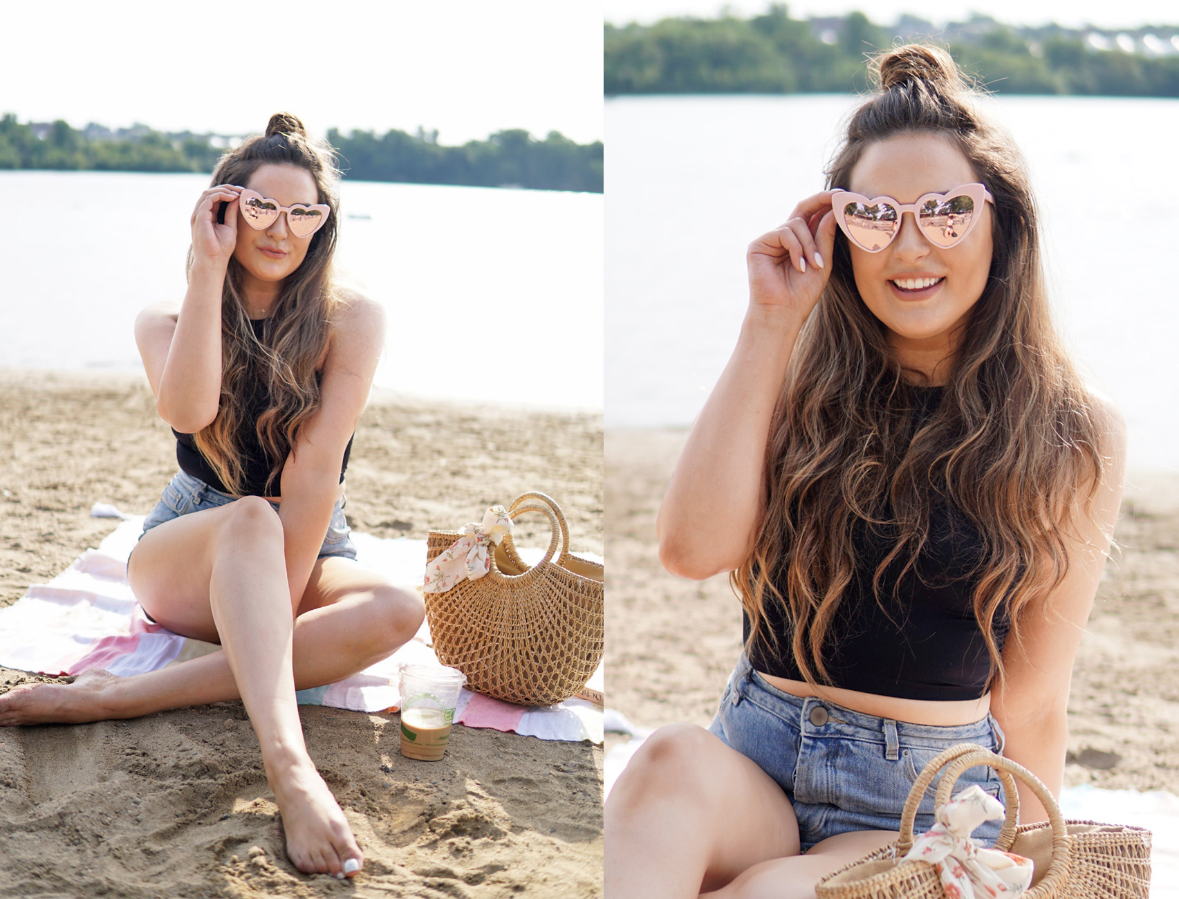 Mash Elle summer beach topknot hair style idea heart sunglasses black crop top jean shorts