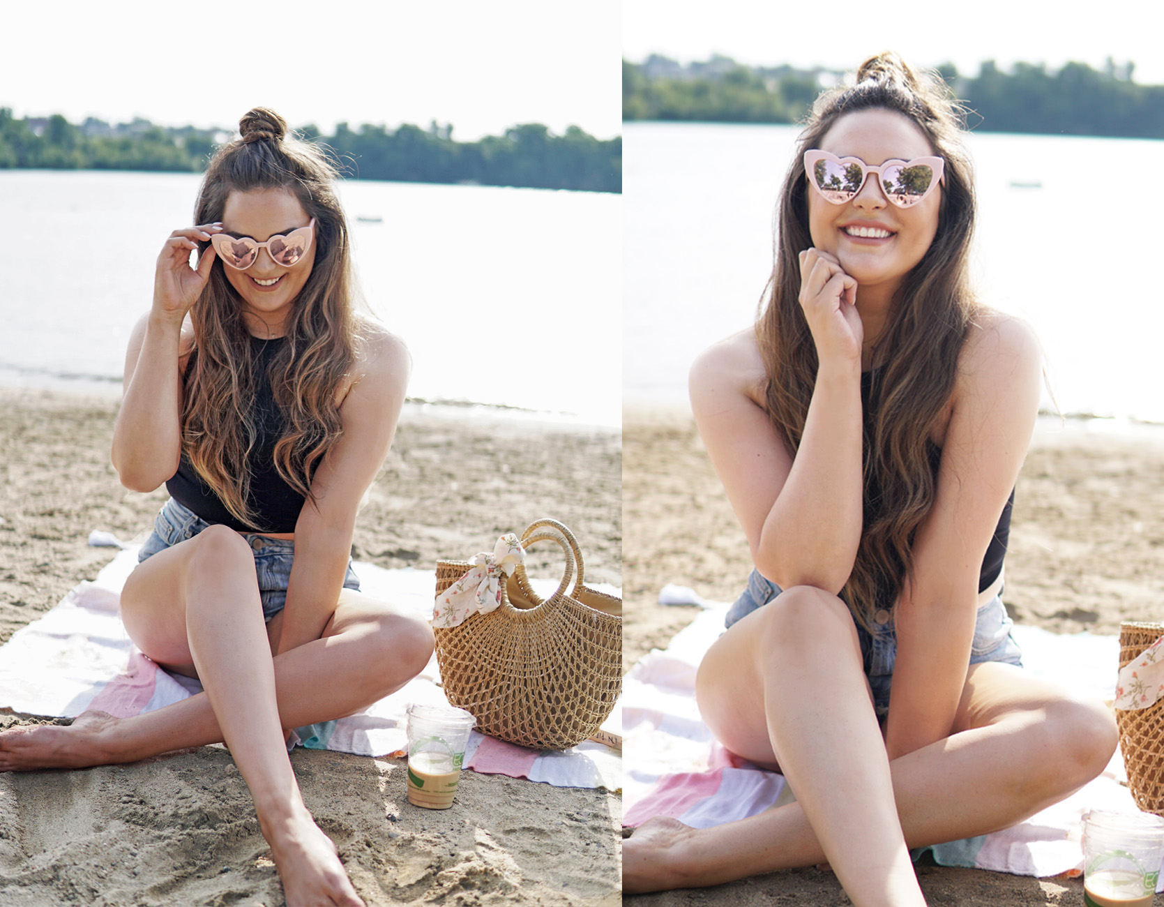 Mash Elle beauty blogger | diy topknot | Cibu hair | topknot tutorial | summer beach| topknot hair style idea| heart sunglasses | black crop top | jean shorts |
